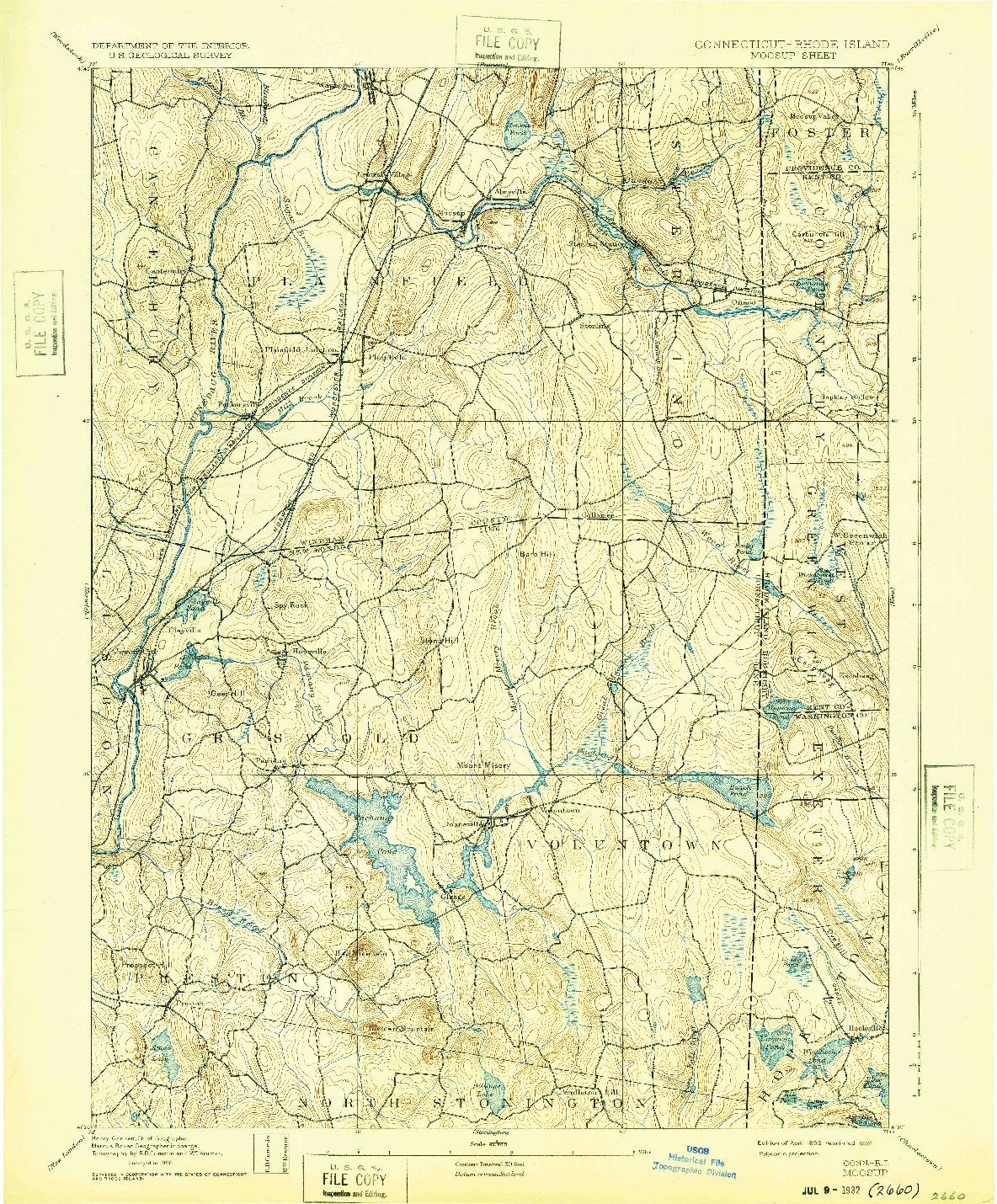USGS 1:62500-SCALE QUADRANGLE FOR MOOSUP, CT 1893