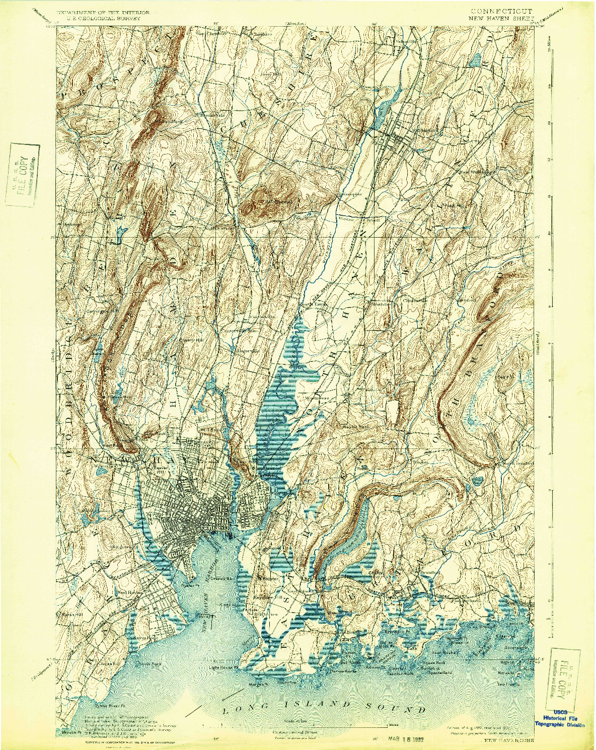 USGS 1:62500-SCALE QUADRANGLE FOR NEW HAVEN, CT 1892