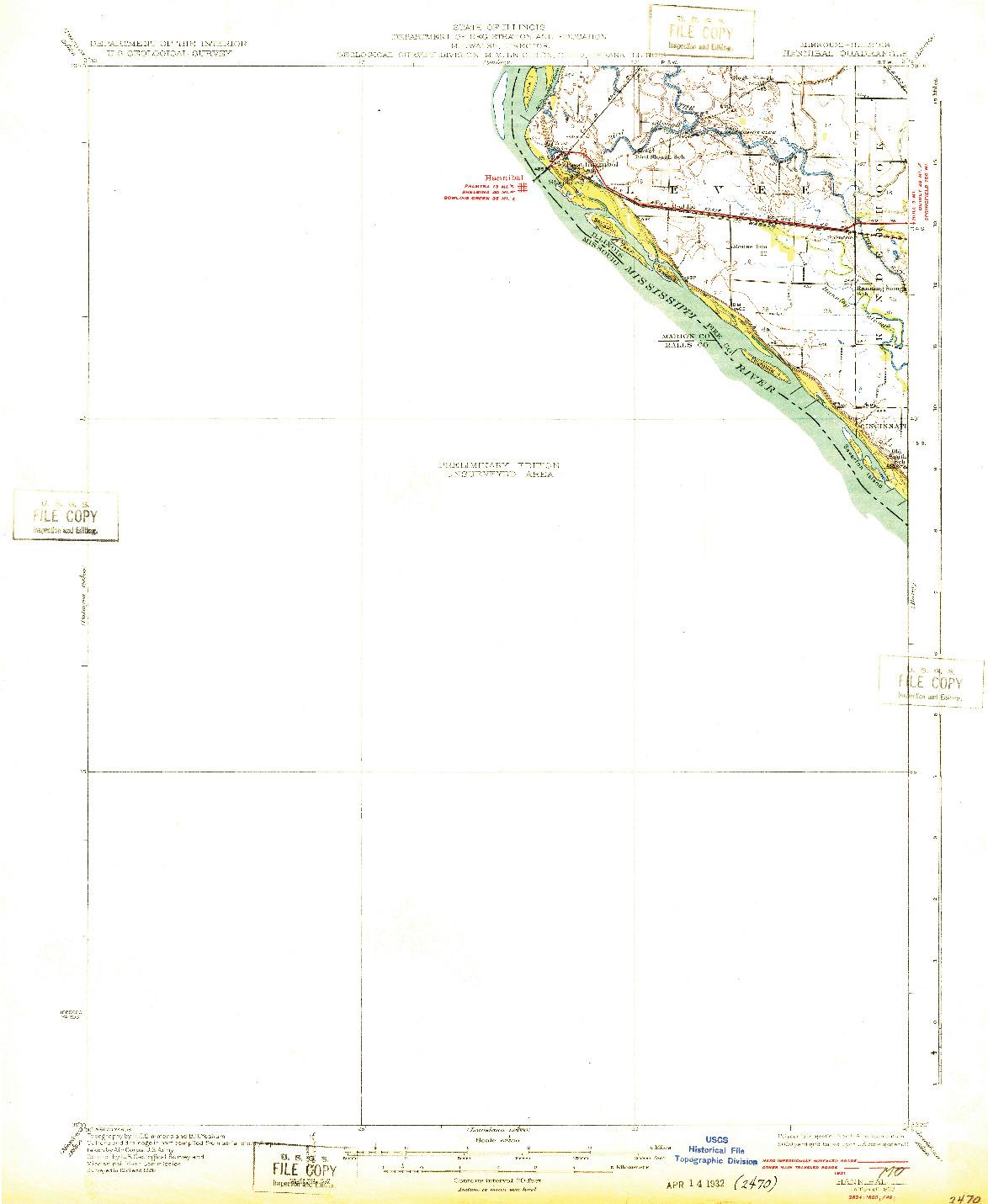 USGS 1:62500-SCALE QUADRANGLE FOR HANNIBAL, MO 1932