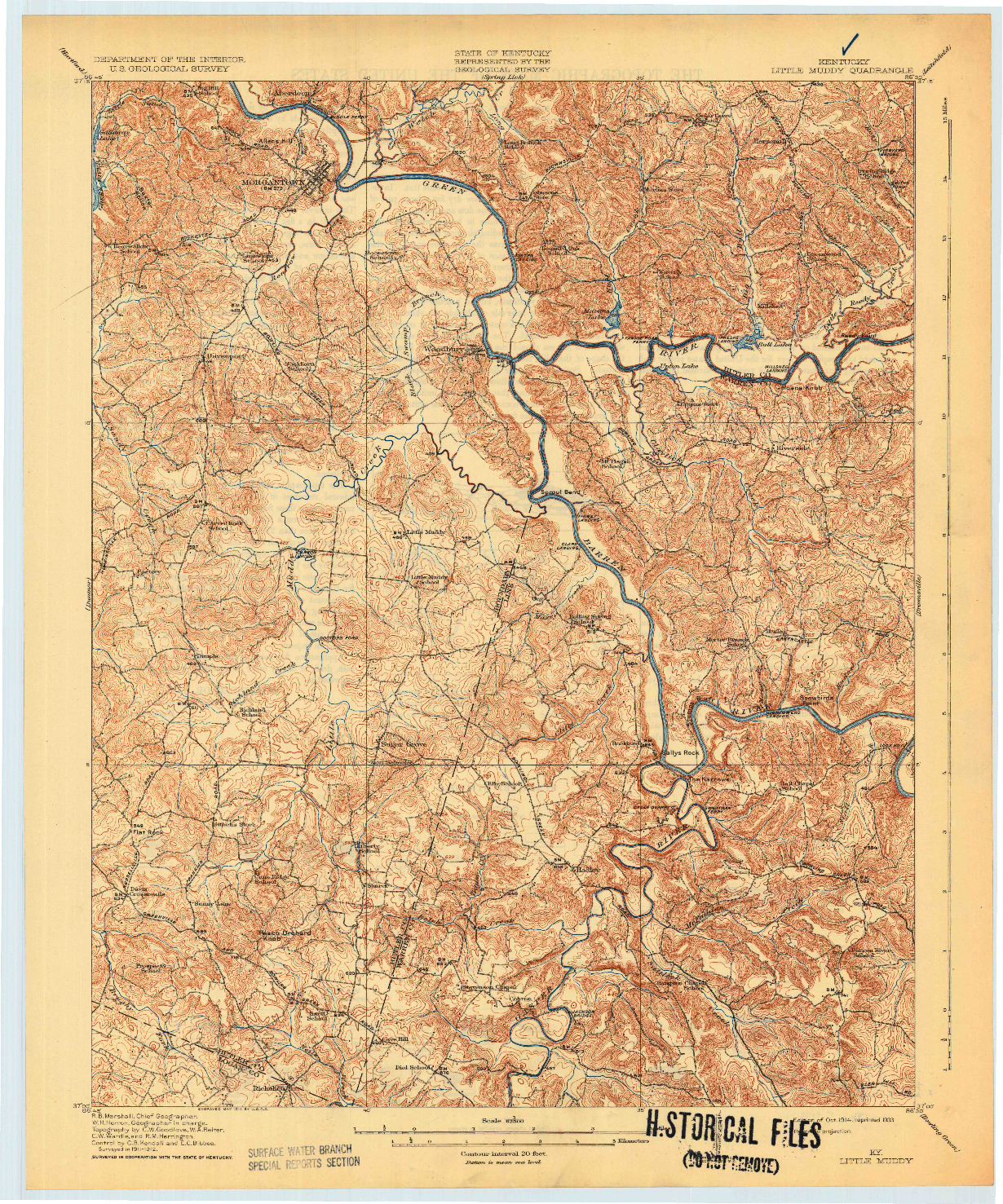 USGS 1:62500-SCALE QUADRANGLE FOR LITTLE MUDDY, KY 1914
