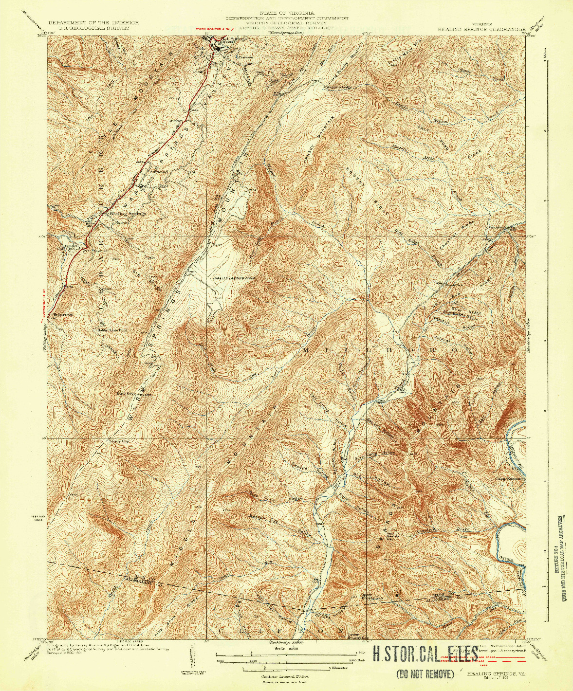 USGS 1:31680-SCALE QUADRANGLE FOR HEALING SPRINGS, VA 1933