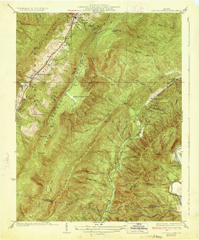 USGS 1:31680-SCALE QUADRANGLE FOR HEALING SPRINGS, VA 1933