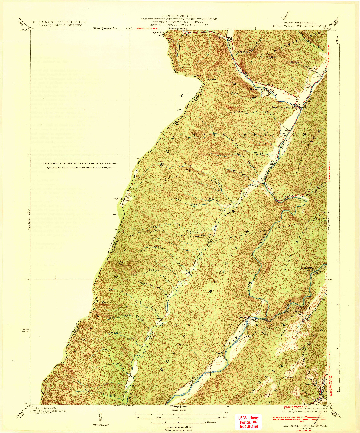 USGS 1:31680-SCALE QUADRANGLE FOR MOUNTAIN GROVE, VA 1933