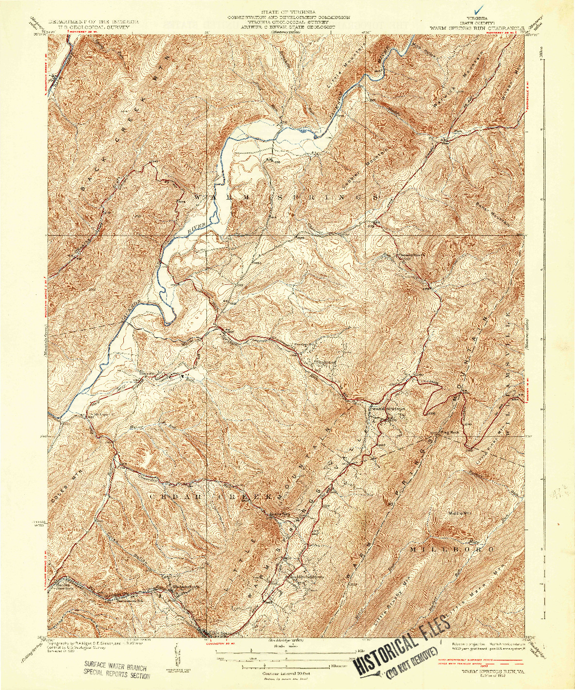 USGS 1:31680-SCALE QUADRANGLE FOR WARM SPRINGS RUN, VA 1933