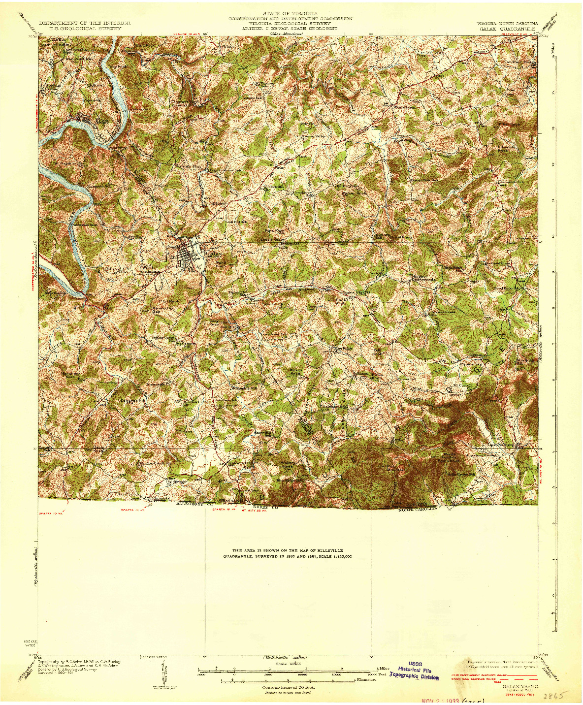 USGS 1:62500-SCALE QUADRANGLE FOR GALAX, VA 1933