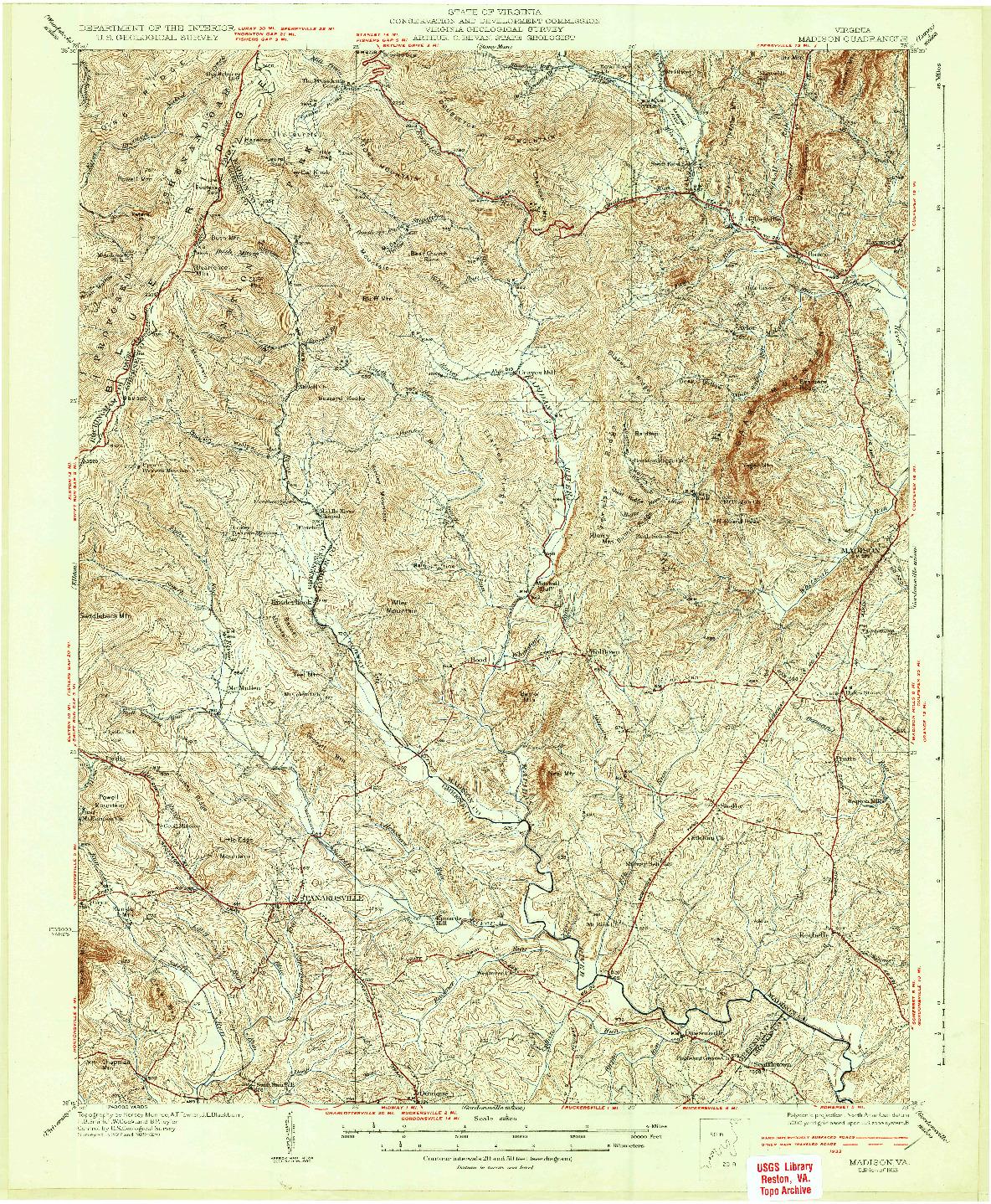 USGS 1:62500-SCALE QUADRANGLE FOR MADISON, VA 1933