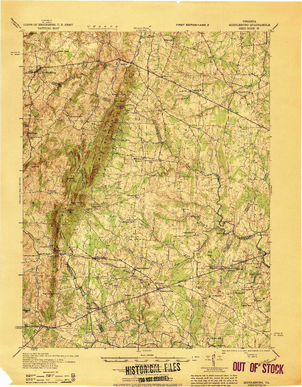 USGS 1:62500-SCALE QUADRANGLE FOR MIDDLEBURG, VA 1933