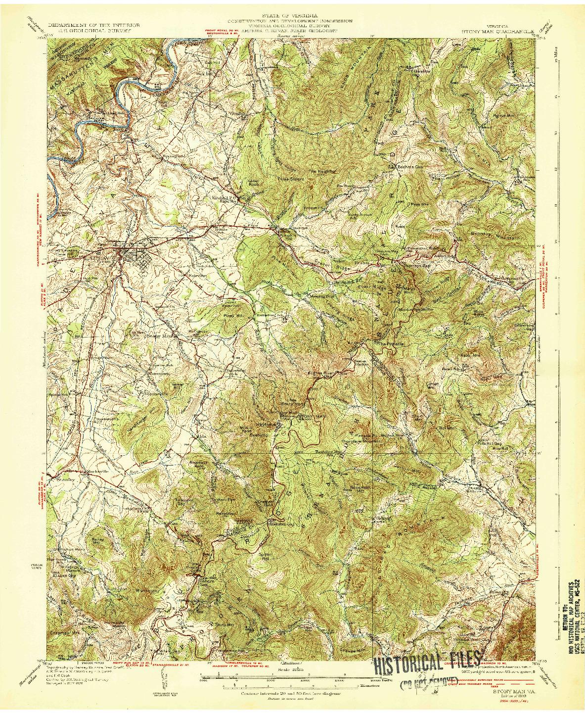 USGS 1:62500-SCALE QUADRANGLE FOR STONY MAN, VA 1933
