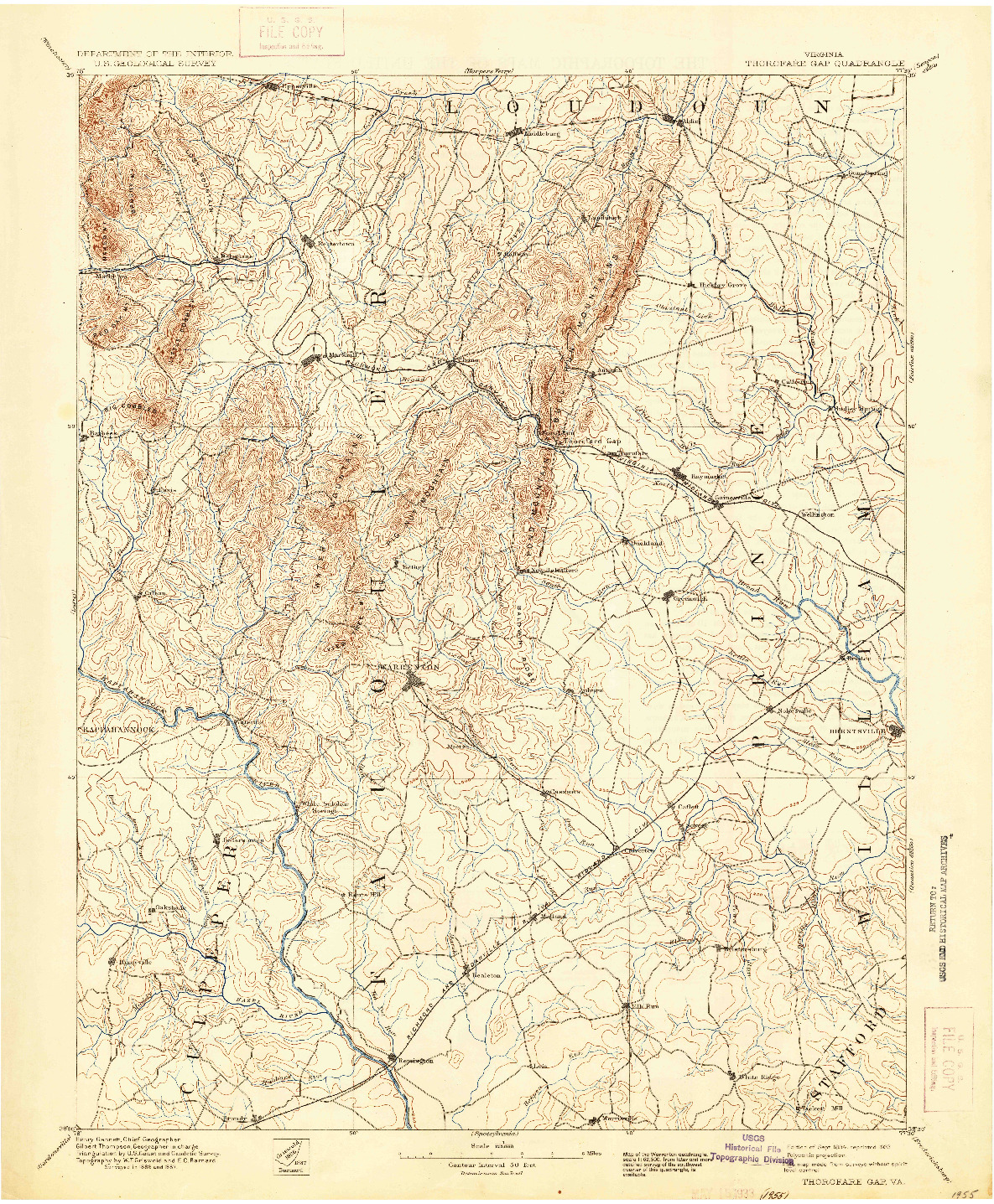 USGS 1:125000-SCALE QUADRANGLE FOR THOROFARE GAP, VA 1894