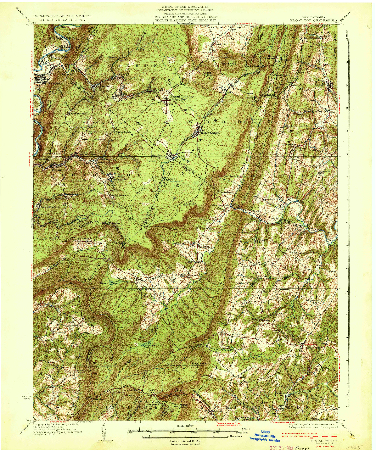 USGS 1:62500-SCALE QUADRANGLE FOR BROAD TOP, PA 1933