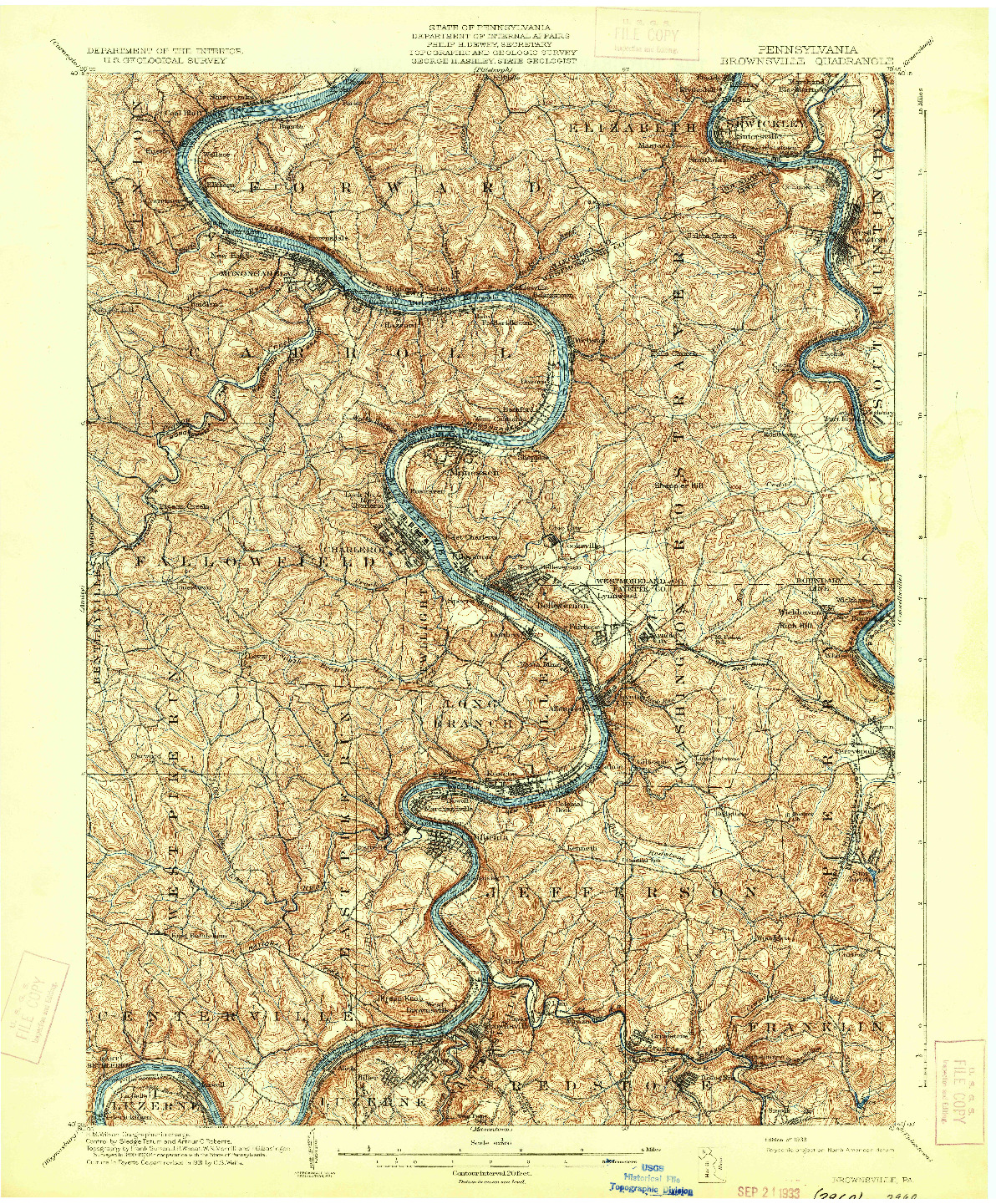 USGS 1:62500-SCALE QUADRANGLE FOR BROWNSVILLE, PA 1933