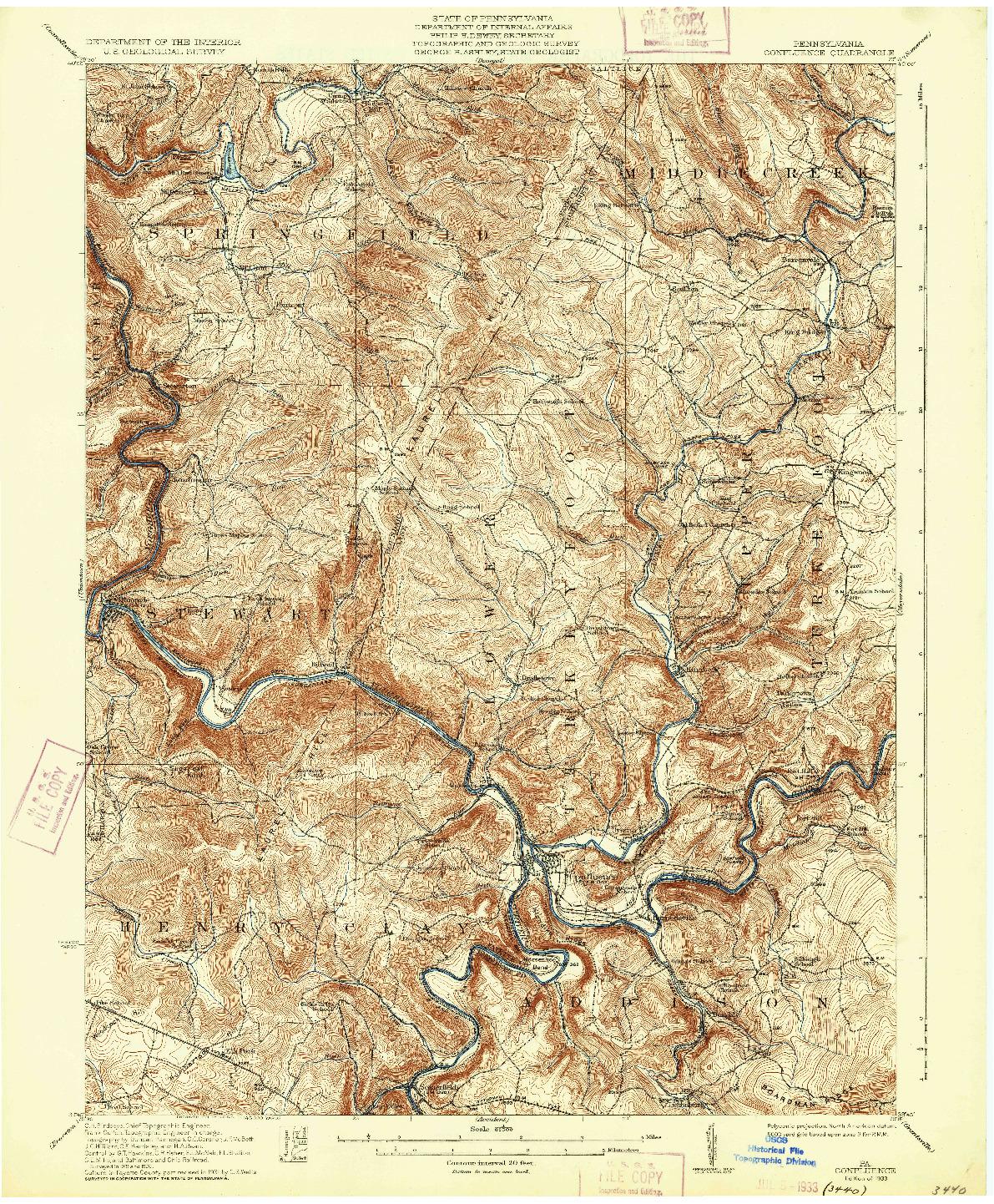 USGS 1:62500-SCALE QUADRANGLE FOR CONFLUENCE, PA 1933