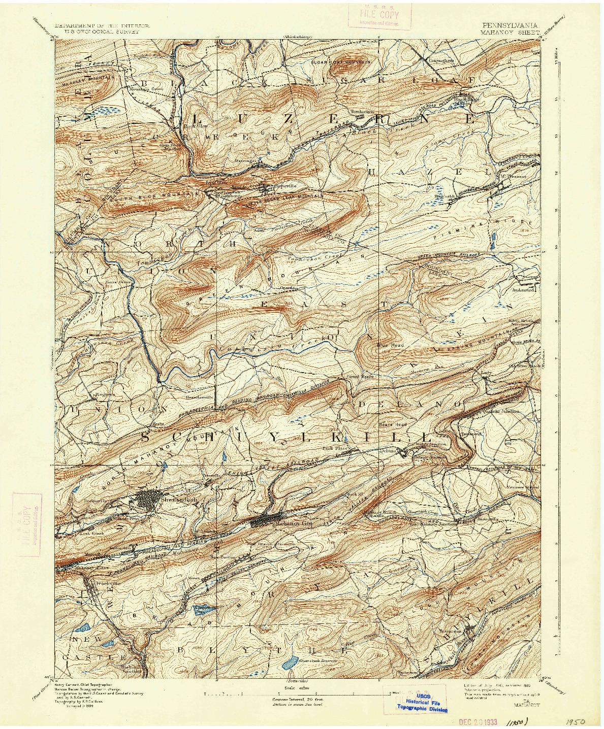 USGS 1:62500-SCALE QUADRANGLE FOR MAHANOY, PA 1893