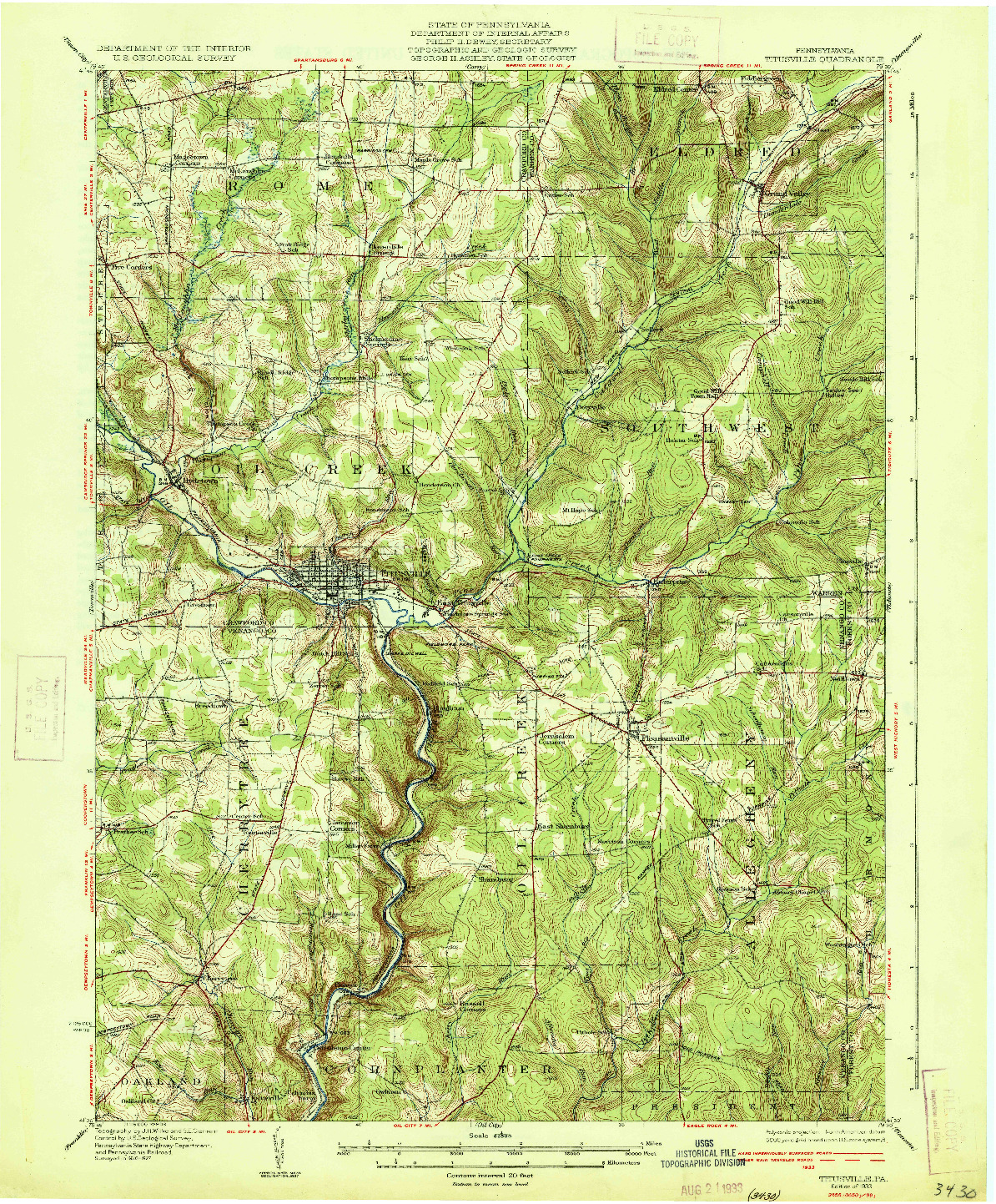 USGS 1:62500-SCALE QUADRANGLE FOR TITUSVILLE, PA 1933
