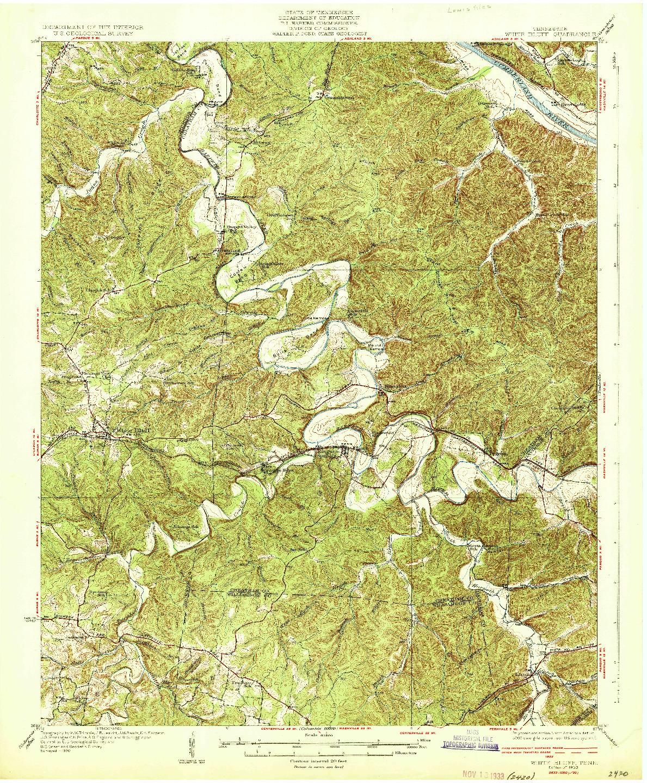 USGS 1:62500-SCALE QUADRANGLE FOR WHITE BLUFF, TN 1933