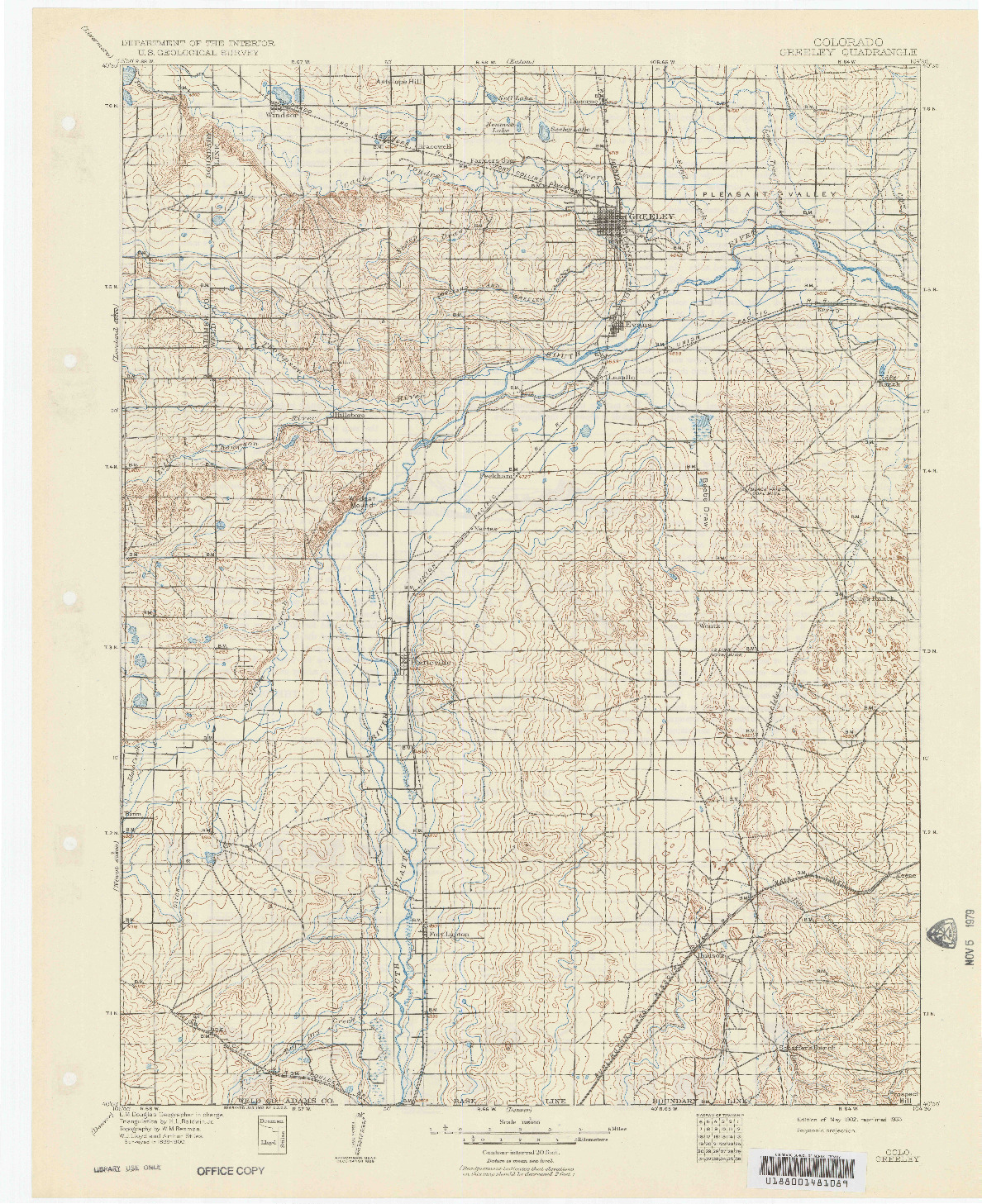 USGS 1:125000-SCALE QUADRANGLE FOR GREELEY, CO 1902