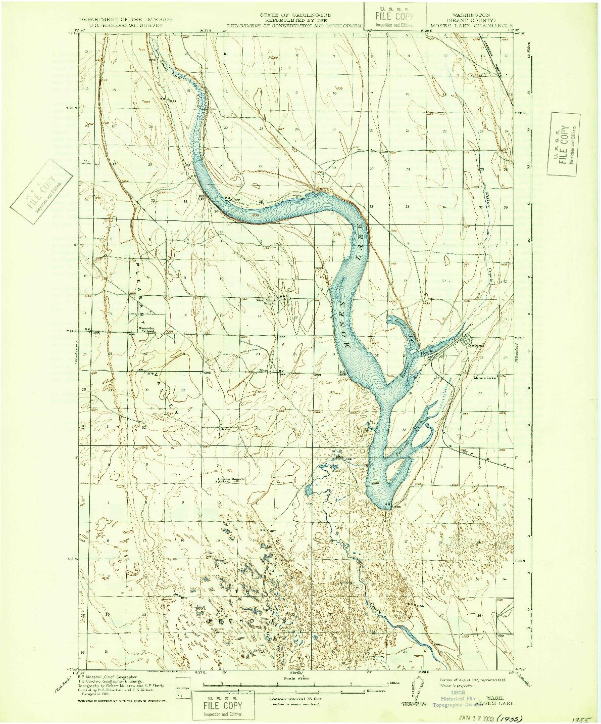 USGS 1:62500-SCALE QUADRANGLE FOR MOSES LAKE, WA 1912