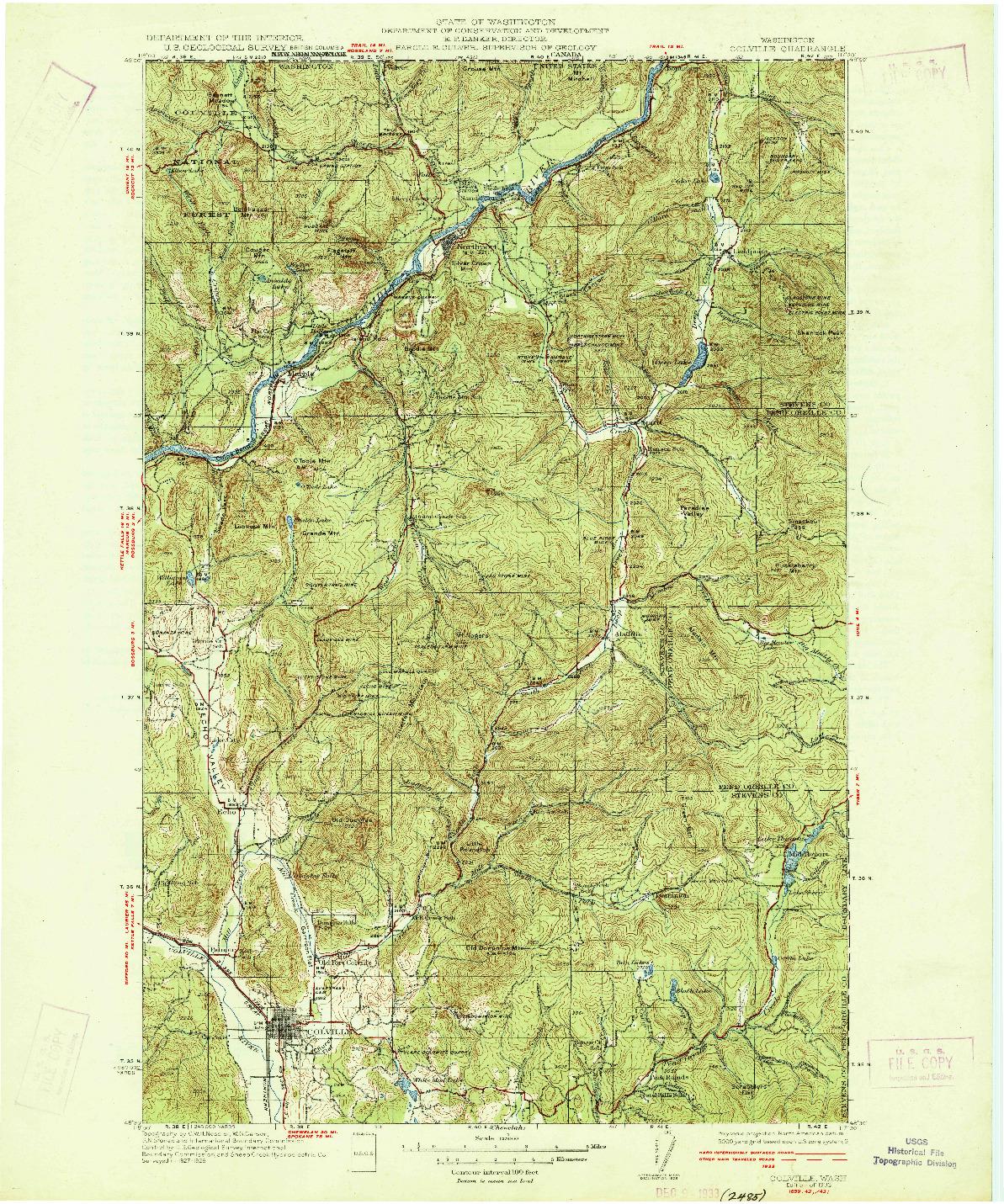 USGS 1:125000-SCALE QUADRANGLE FOR COLVILLE, WA 1933