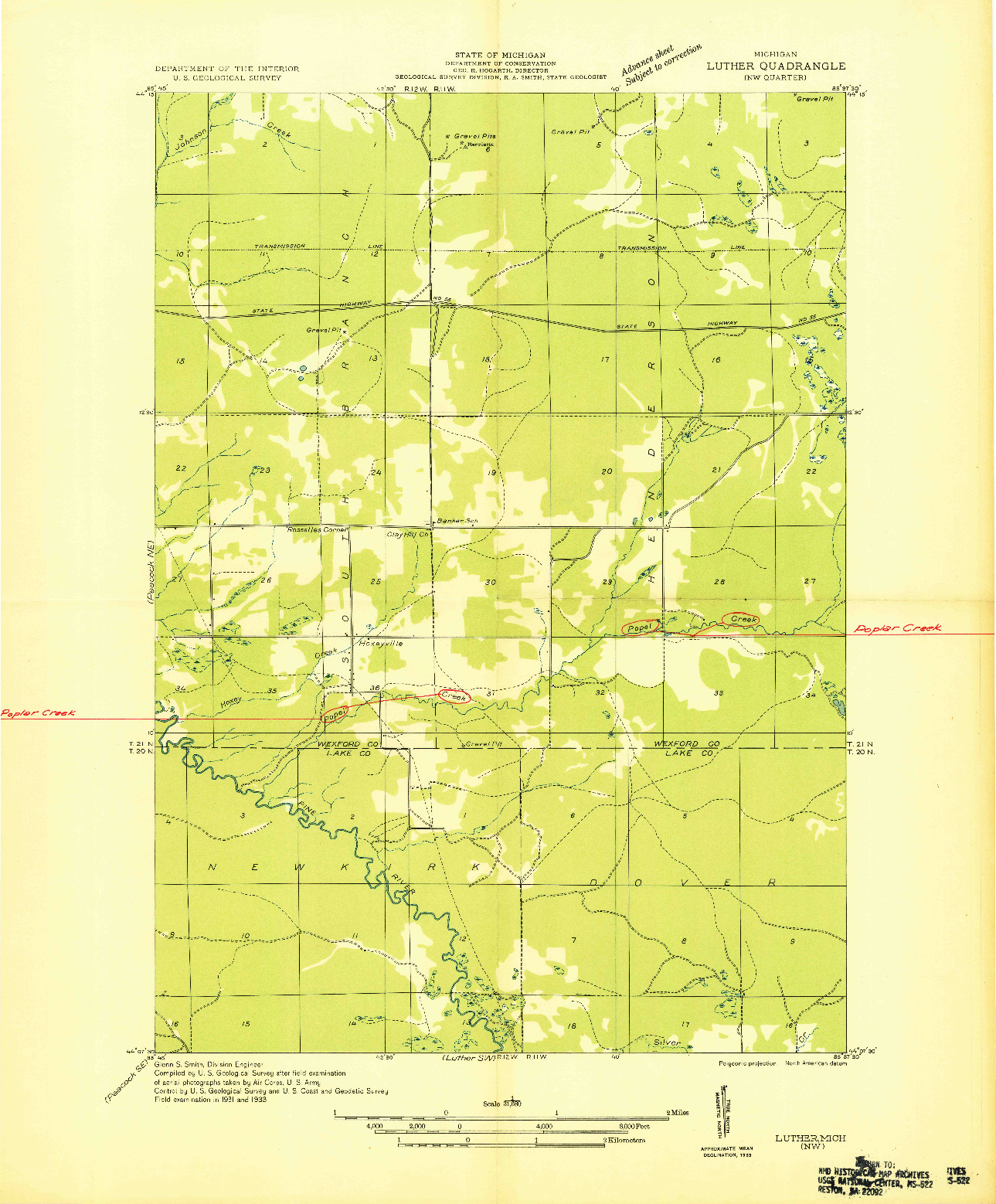USGS 1:31680-SCALE QUADRANGLE FOR LUTHER NW, MI 1933