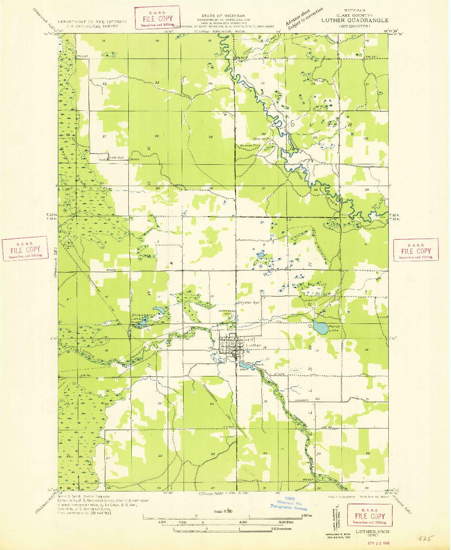 USGS 1:31680-SCALE QUADRANGLE FOR LUTHER SW, MI 1933