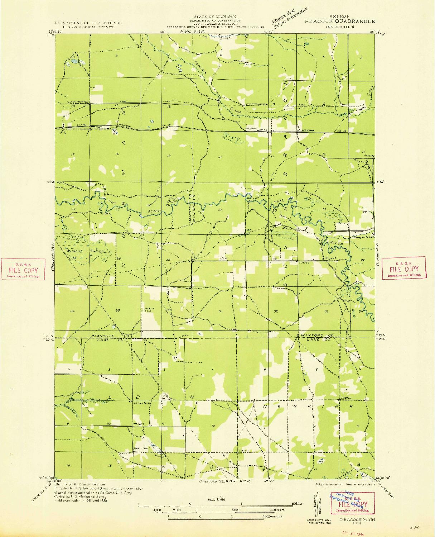 USGS 1:31680-SCALE QUADRANGLE FOR PEACOCK NE, MI 1933