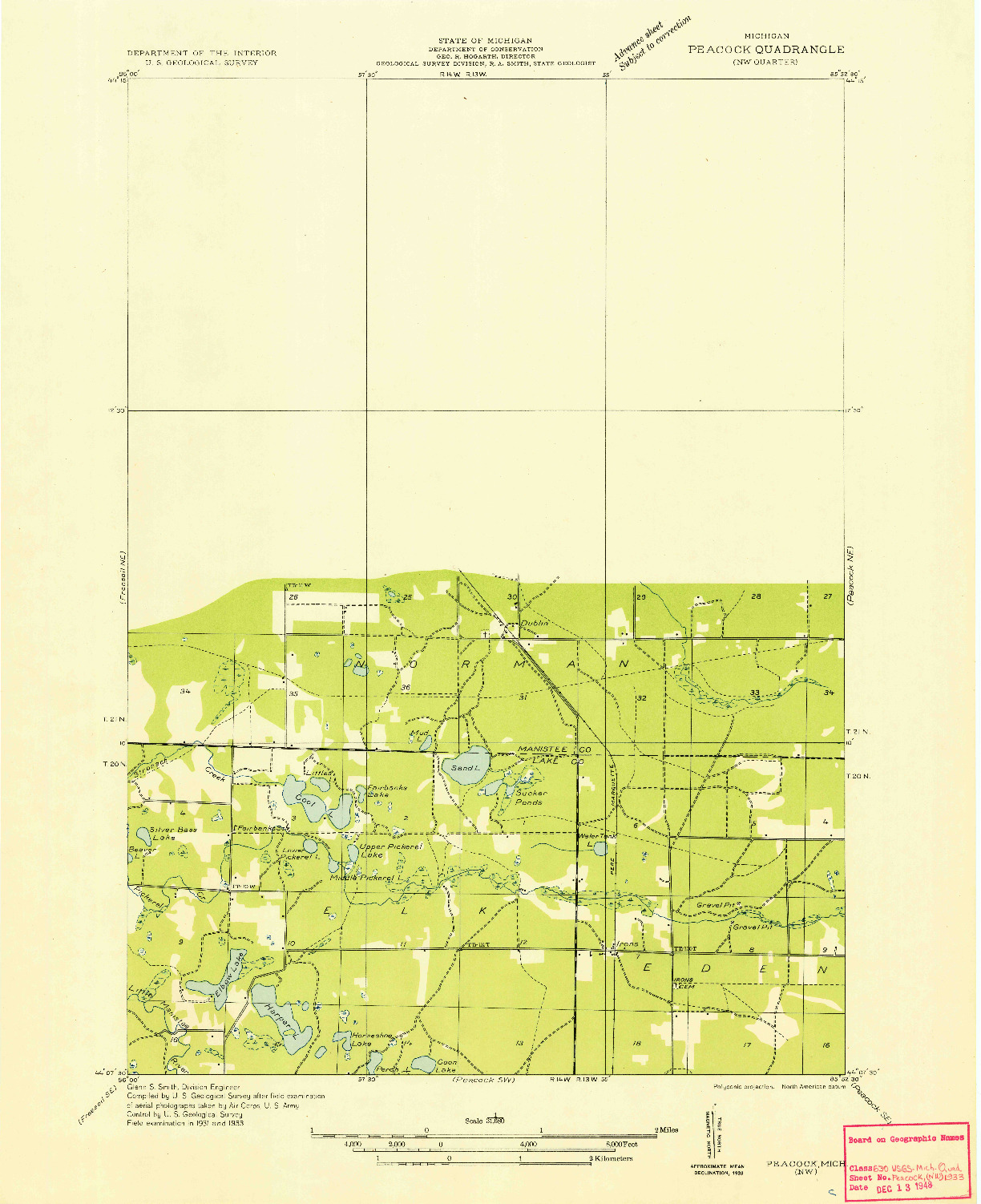 USGS 1:31680-SCALE QUADRANGLE FOR PEACOCK NW, MI 1933