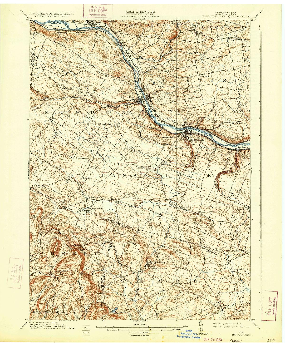 USGS 1:62500-SCALE QUADRANGLE FOR CANAJOHARIE, NY 1902