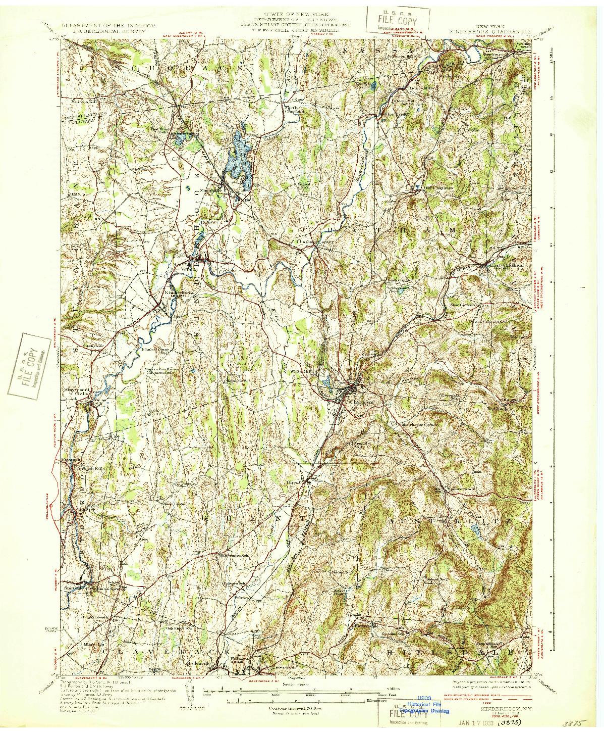 USGS 1:62500-SCALE QUADRANGLE FOR KINDERHOOK, NY 1933