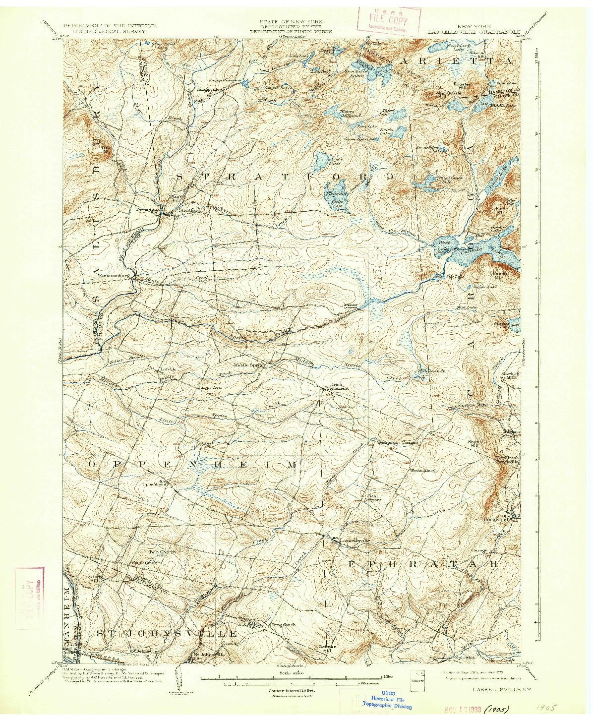 USGS 1:62500-SCALE QUADRANGLE FOR LASSELLSVILLE, NY 1903