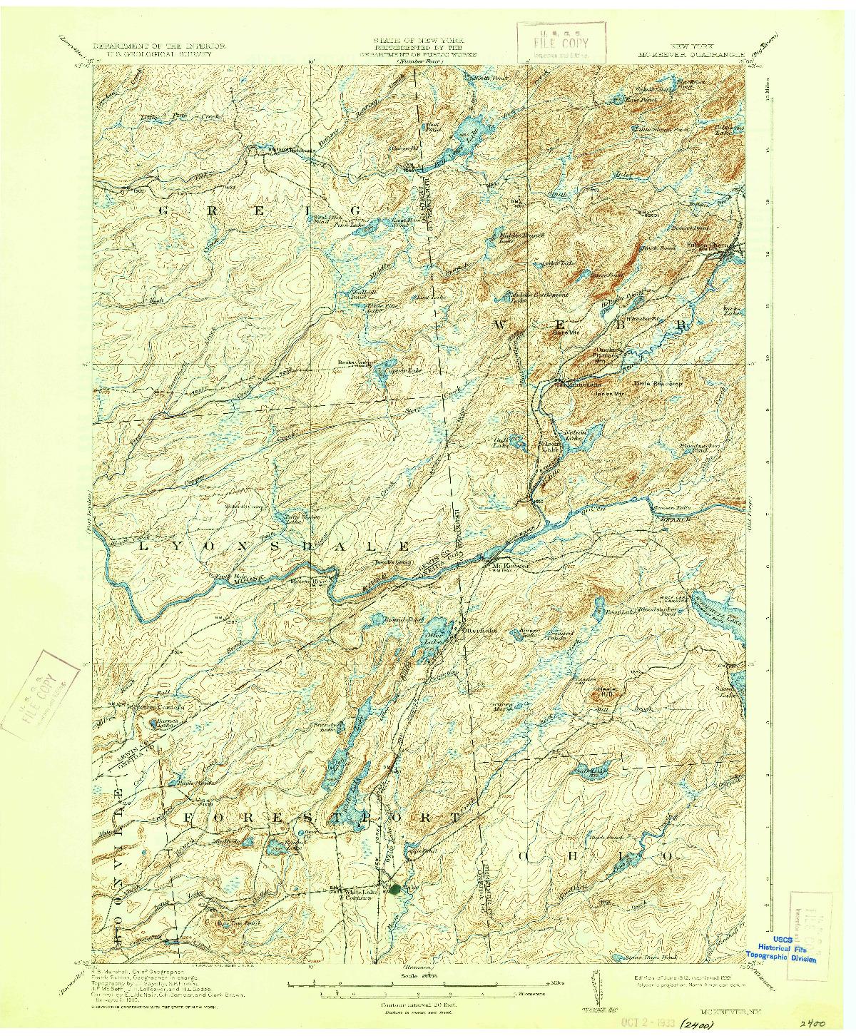 USGS 1:62500-SCALE QUADRANGLE FOR MC KEEVER, NY 1912