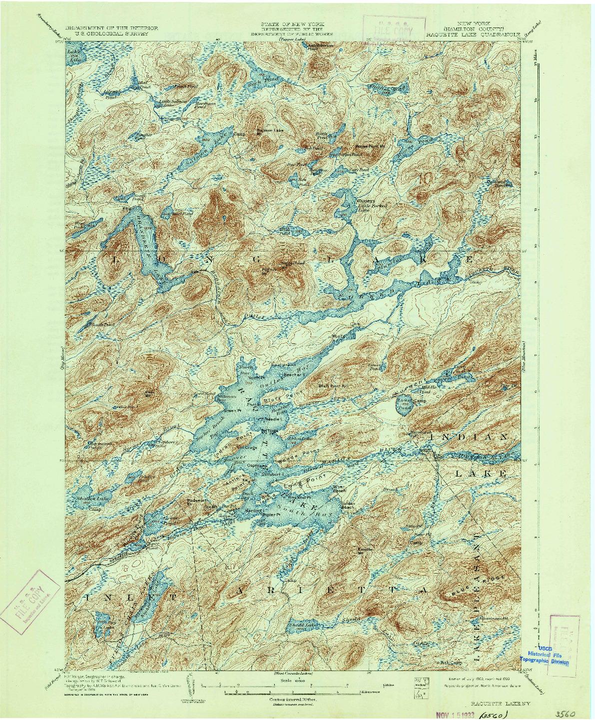 USGS 1:62500-SCALE QUADRANGLE FOR RAQUETTE LAKE, NY 1903