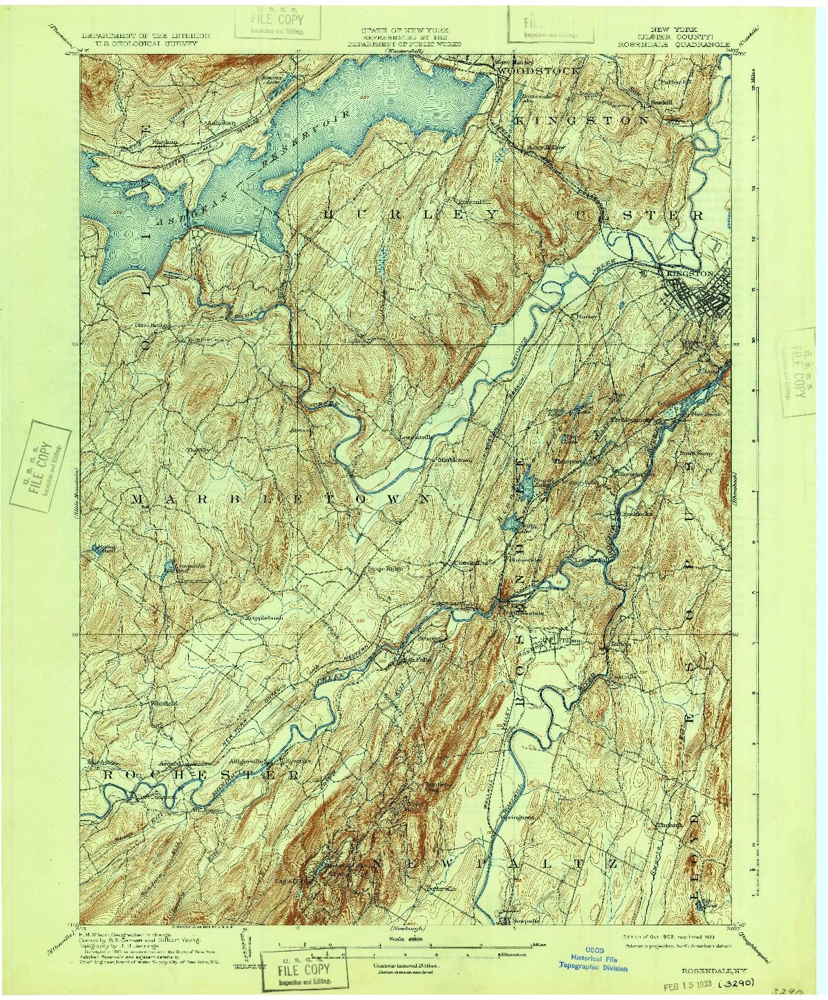 USGS 1:62500-SCALE QUADRANGLE FOR ROSENDALE, NY 1903