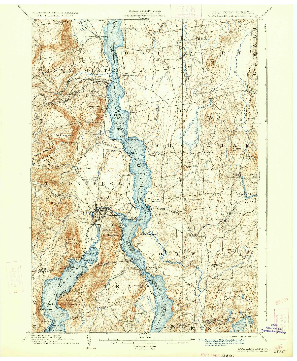 USGS 1:62500-SCALE QUADRANGLE FOR TICONDEROGA, NY 1902