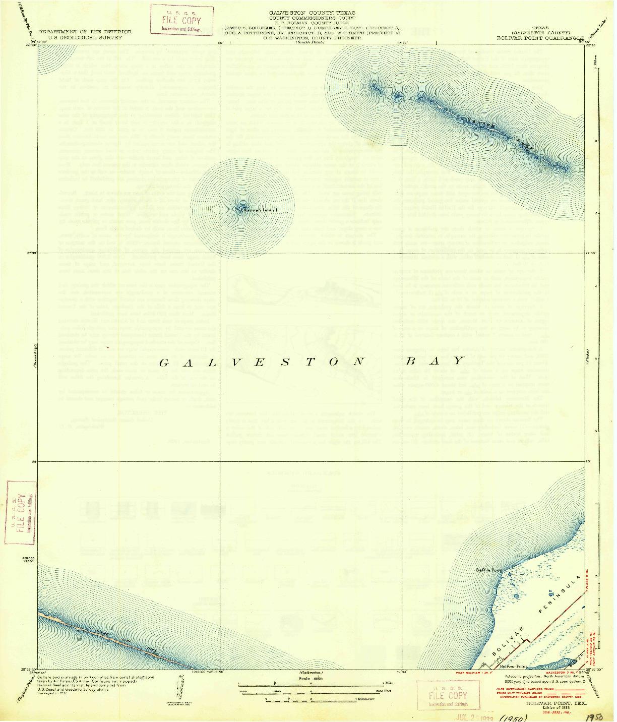 USGS 1:31680-SCALE QUADRANGLE FOR BOLIVAR POINT, TX 1933