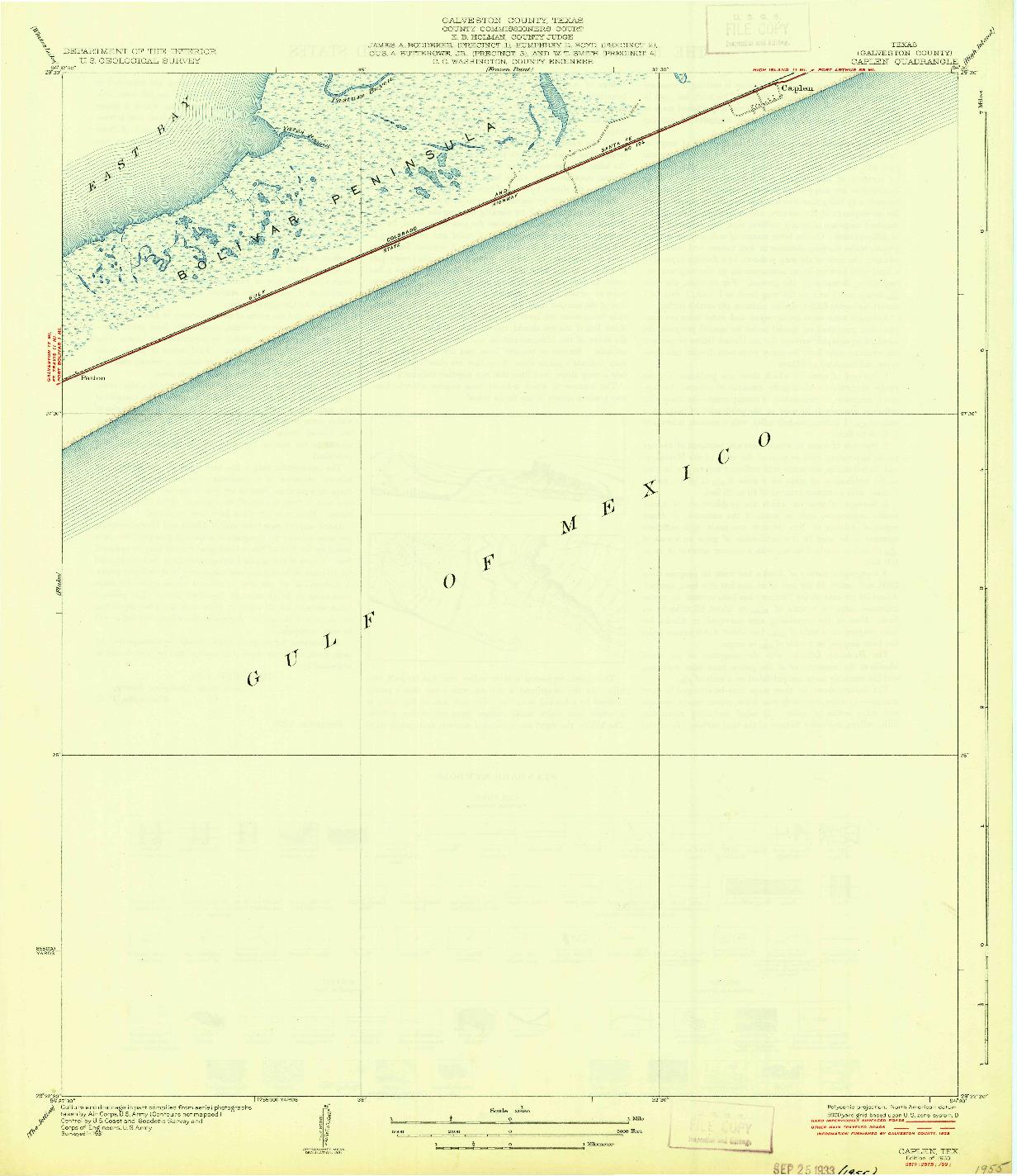 USGS 1:31680-SCALE QUADRANGLE FOR CAPLEN, TX 1933