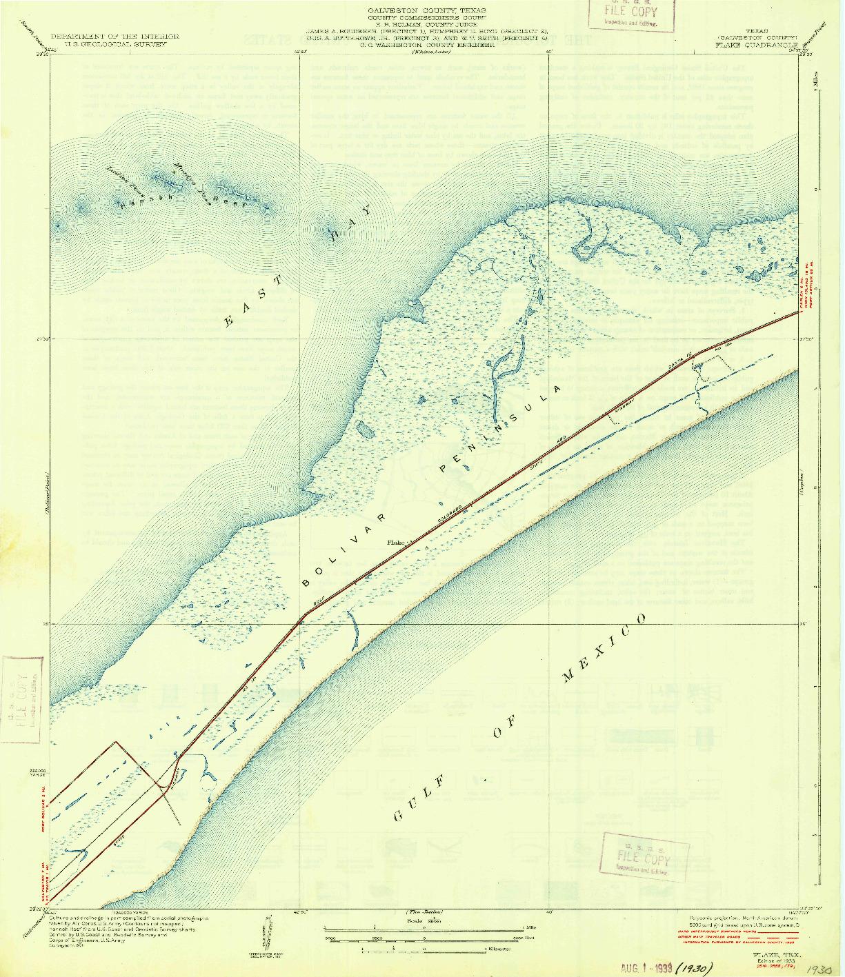USGS 1:31680-SCALE QUADRANGLE FOR FLAKE, TX 1933