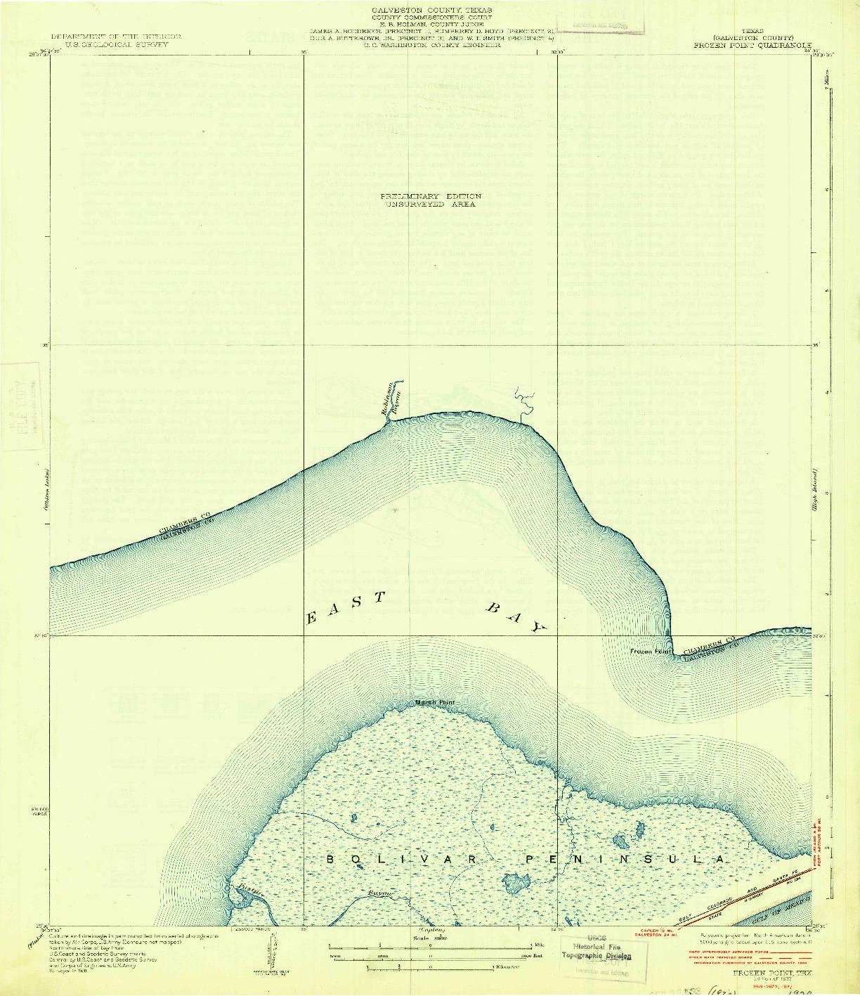 USGS 1:31680-SCALE QUADRANGLE FOR FROZEN POINT, TX 1933