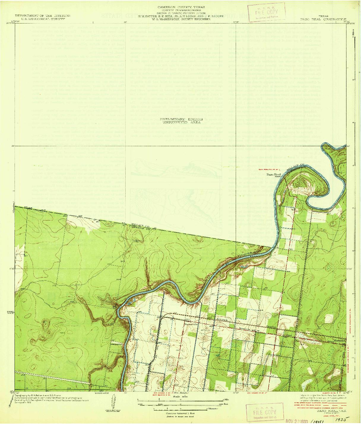 USGS 1:31680-SCALE QUADRANGLE FOR PASO REAL, TX 1933