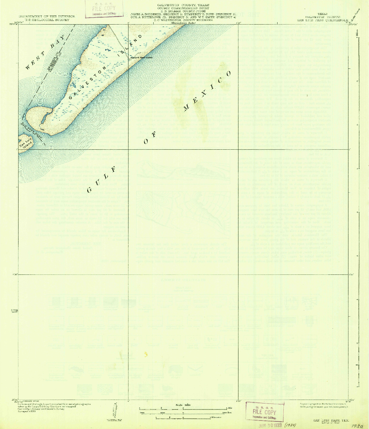 USGS 1:31680-SCALE QUADRANGLE FOR SAN LUIS PASS, TX 1933