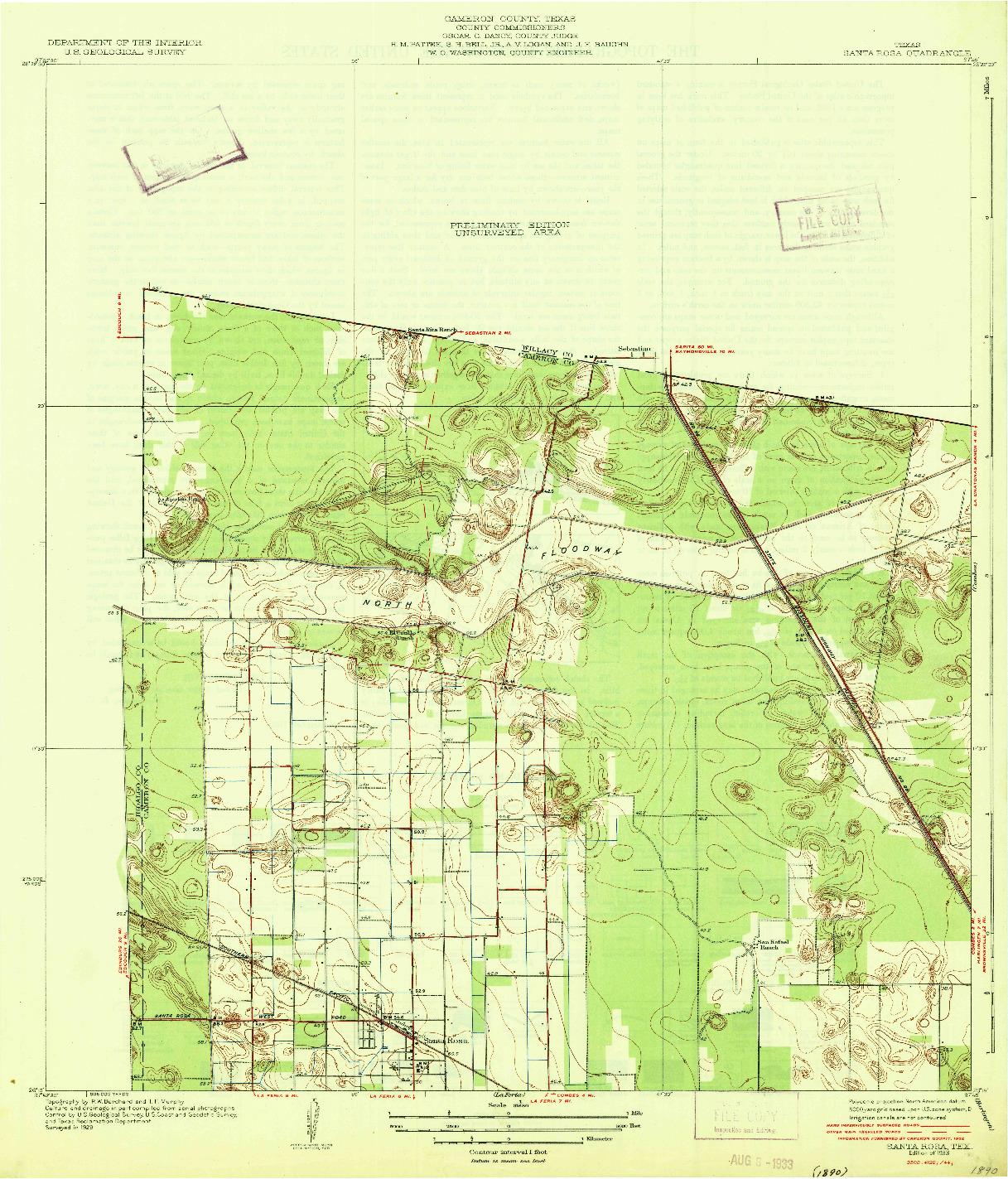 USGS 1:31680-SCALE QUADRANGLE FOR SANTA ROSA, TX 1933
