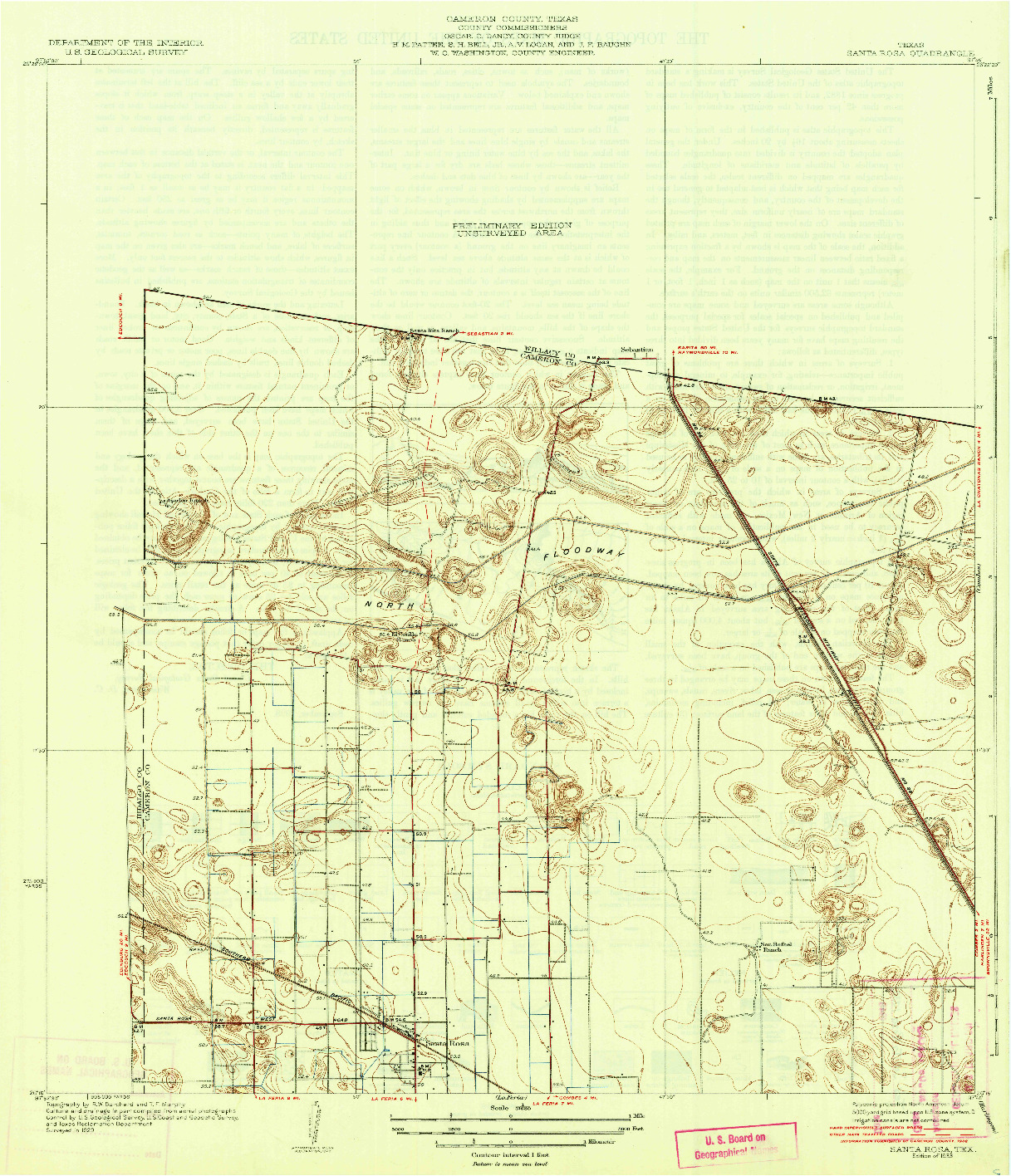 USGS 1:31680-SCALE QUADRANGLE FOR SANTA ROSA, TX 1933