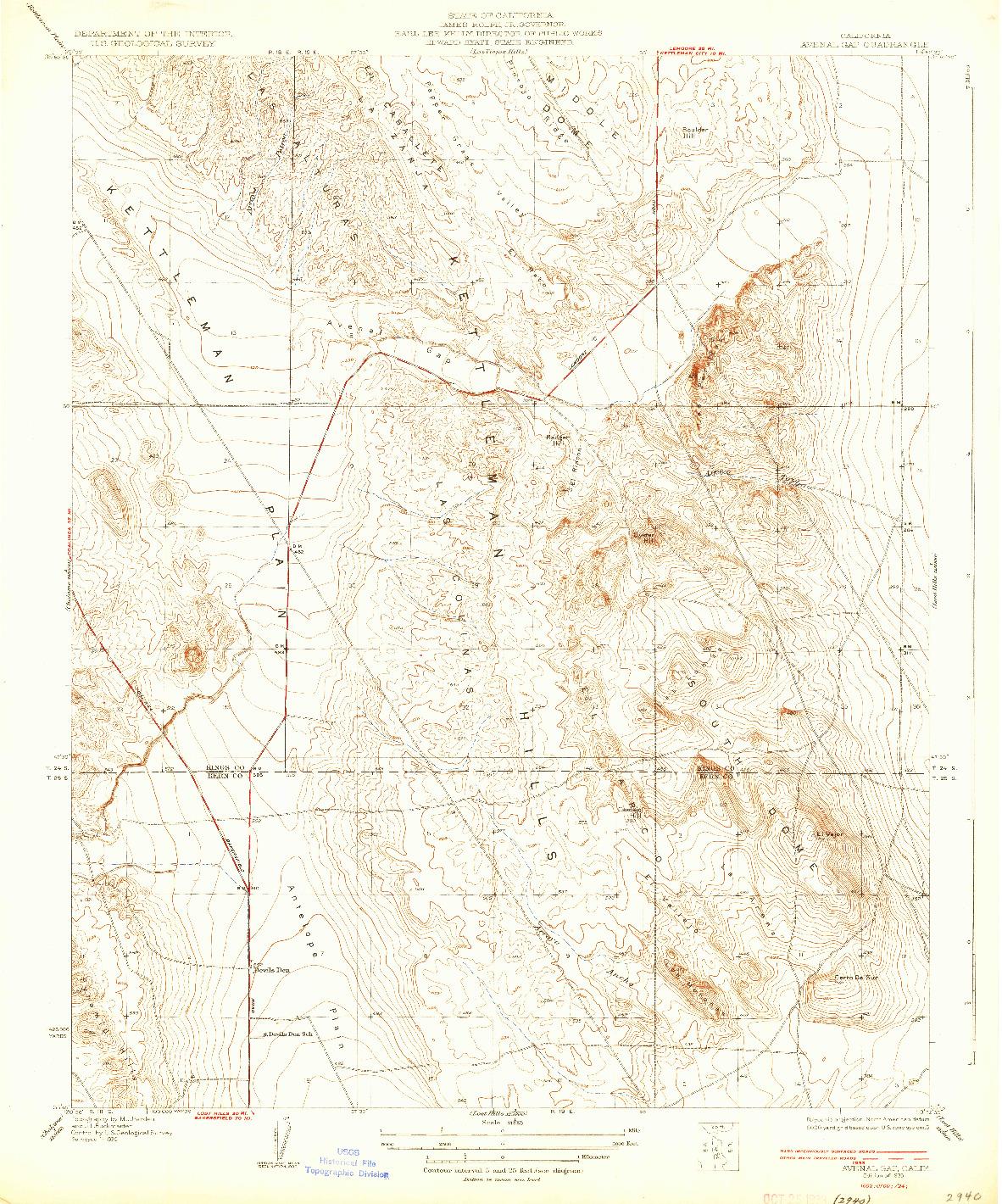 USGS 1:31680-SCALE QUADRANGLE FOR AVENAL GAP, CA 1933