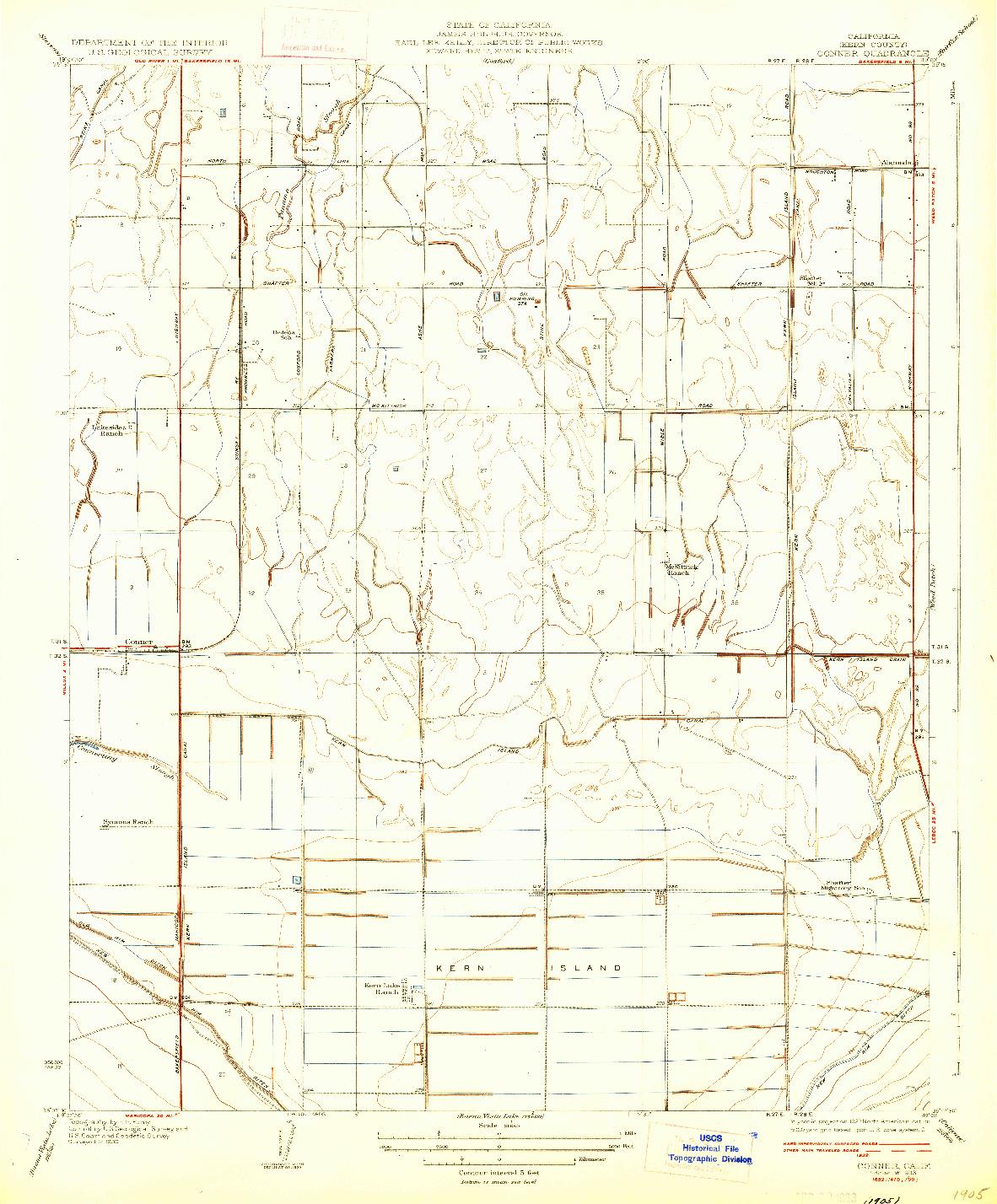 USGS 1:31680-SCALE QUADRANGLE FOR CONNER, CA 1933