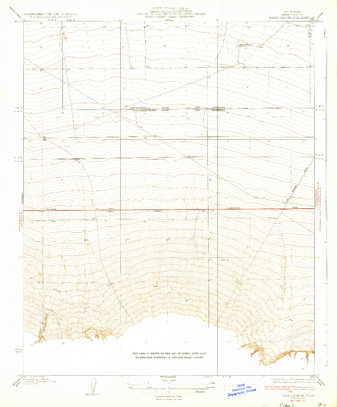 USGS 1:31680-SCALE QUADRANGLE FOR HAYES RANCH, CA 1933
