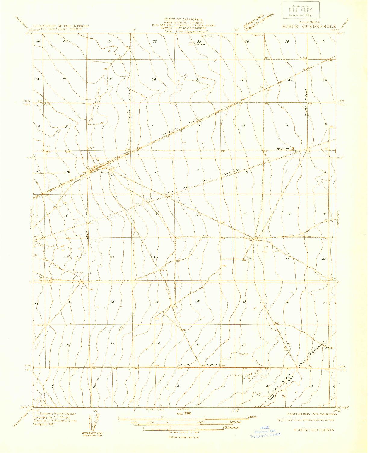 USGS 1:31680-SCALE QUADRANGLE FOR HURON, CA 1933