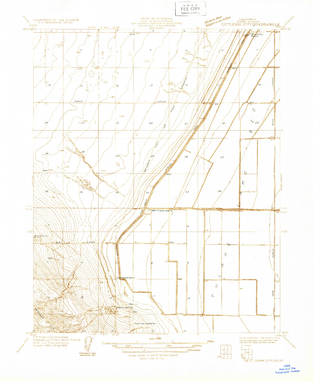 USGS 1:31680-SCALE QUADRANGLE FOR KETTLEMAN CITY, CA 1933