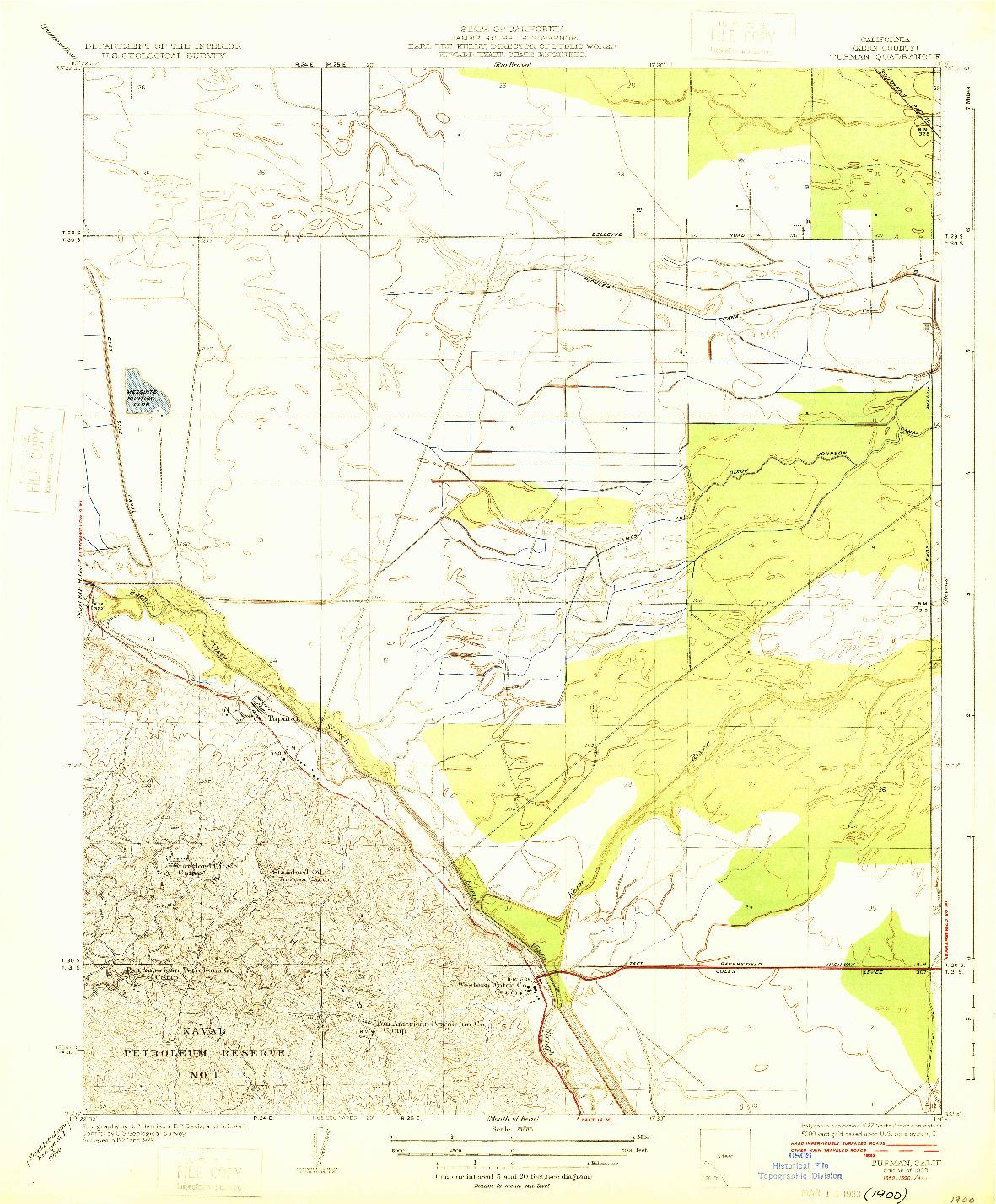USGS 1:31680-SCALE QUADRANGLE FOR TUPMAN, CA 1933