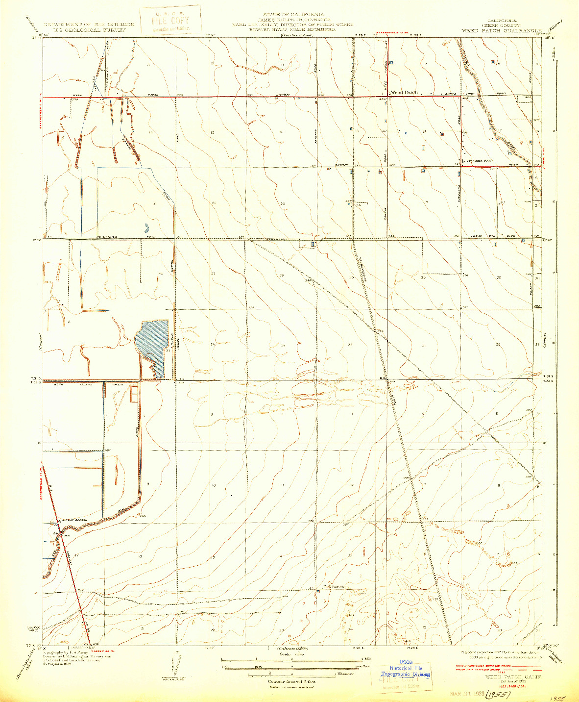 USGS 1:31680-SCALE QUADRANGLE FOR WEED PATCH, CA 1933
