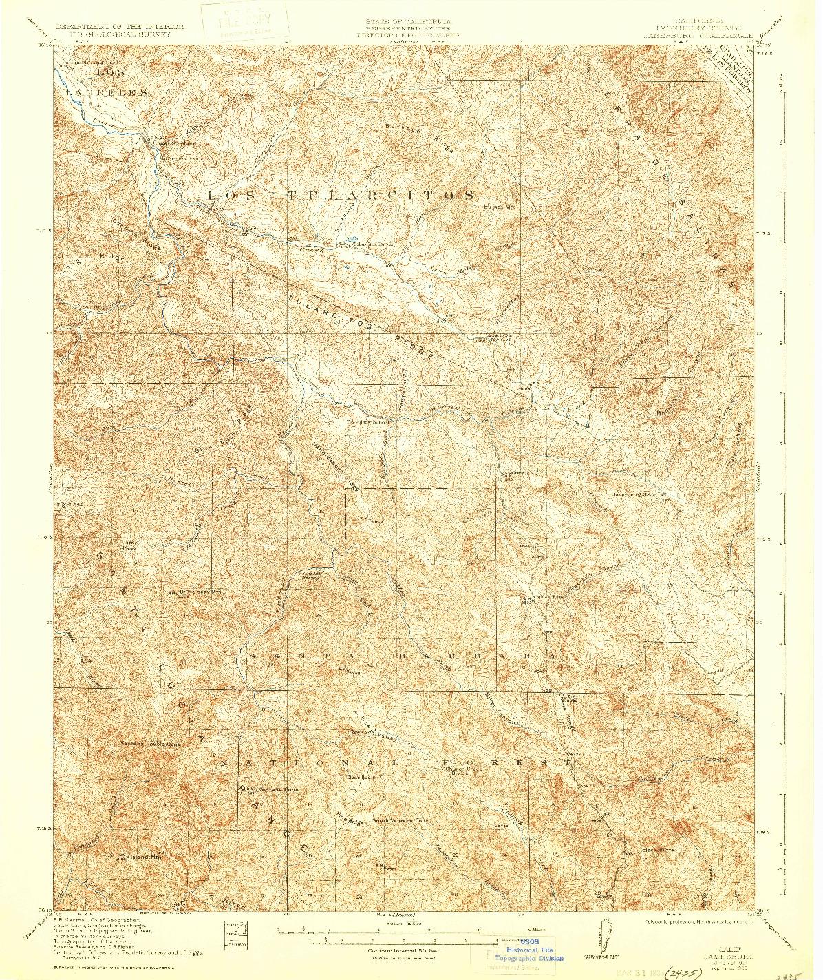 USGS 1:62500-SCALE QUADRANGLE FOR JAMESBURG, CA 1921