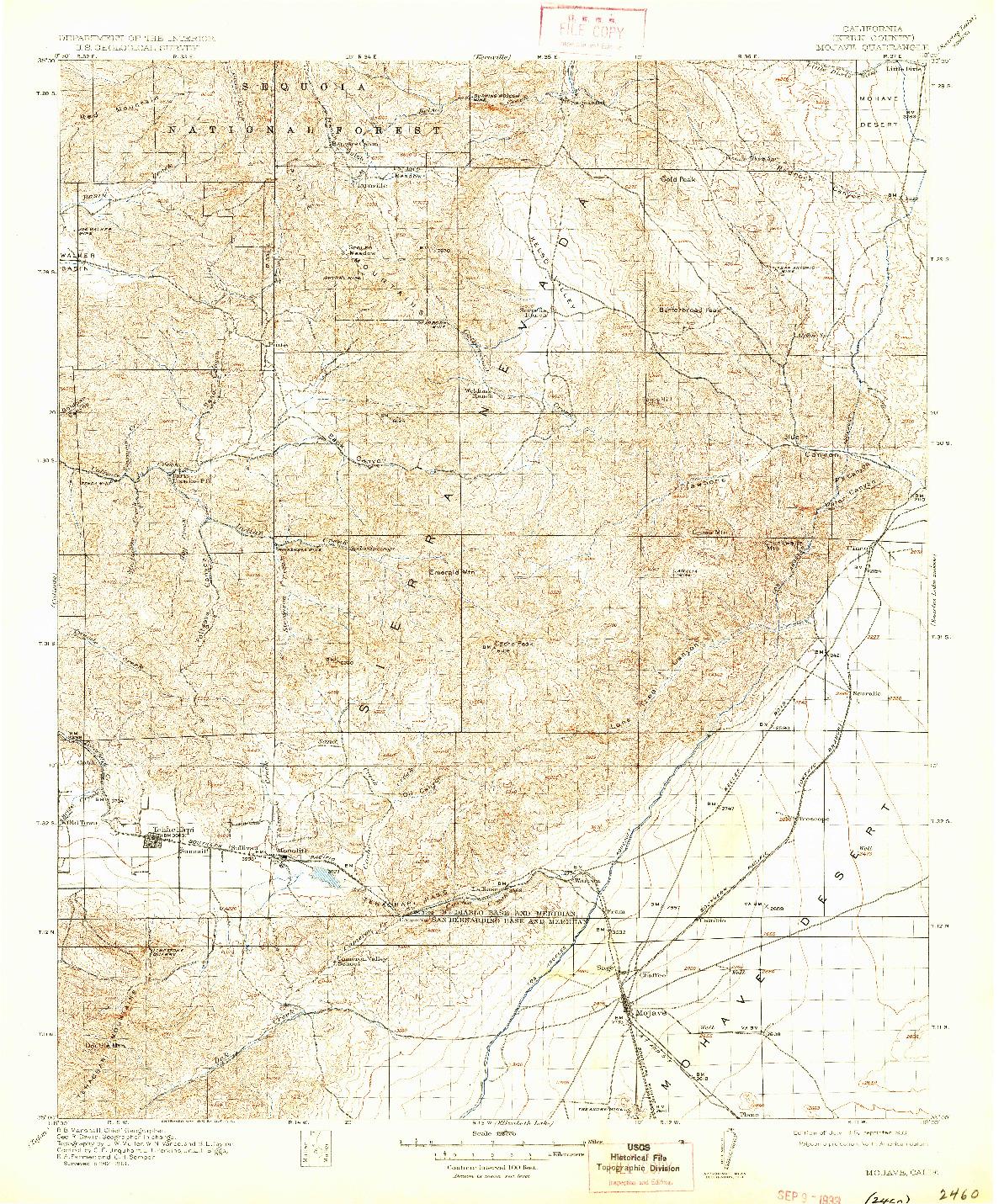USGS 1:125000-SCALE QUADRANGLE FOR MOJAVE, CA 1915
